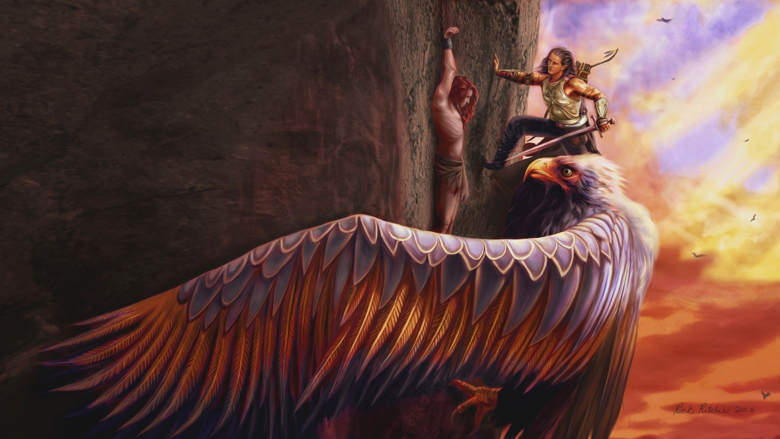 2560x1440 General  mythology eagle fantasy art