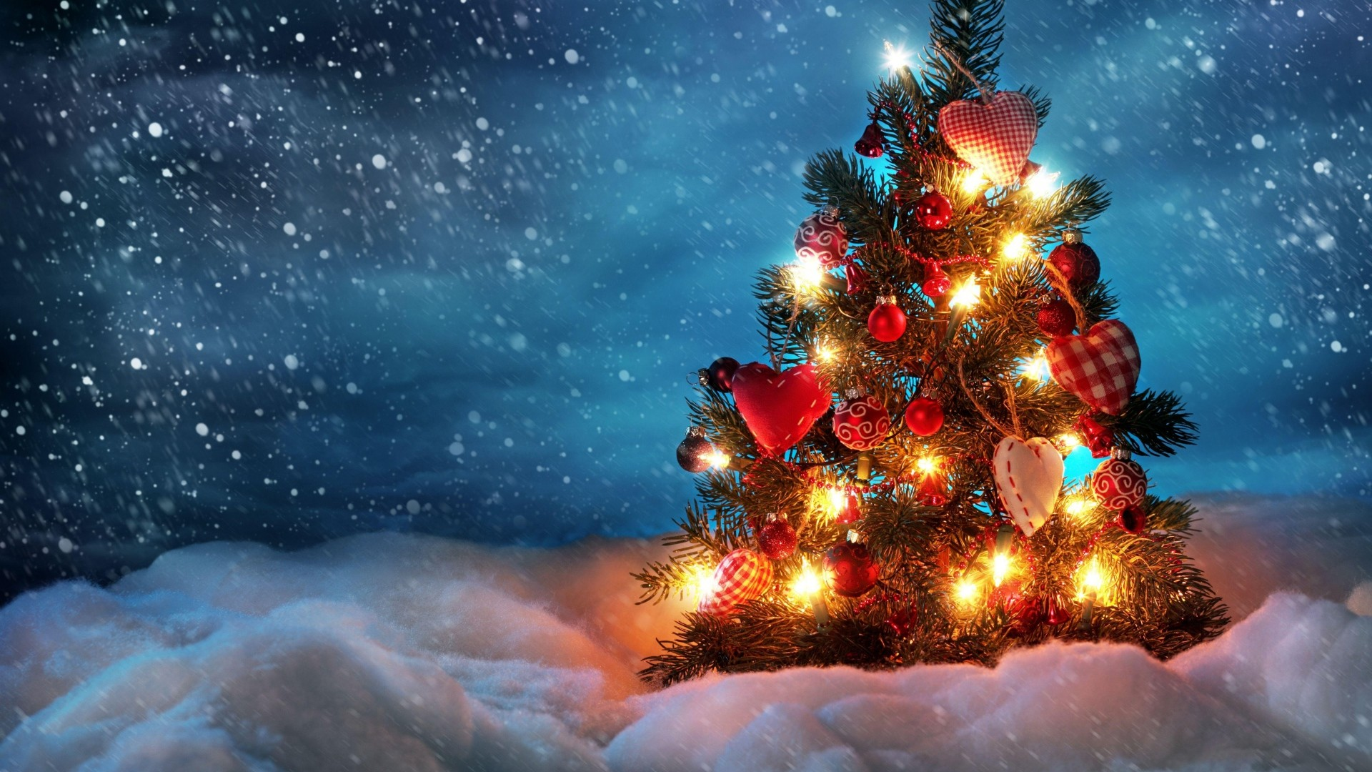 1920x1080 Preview wallpaper tree, new year, christmas, snow, holiday, night, garland