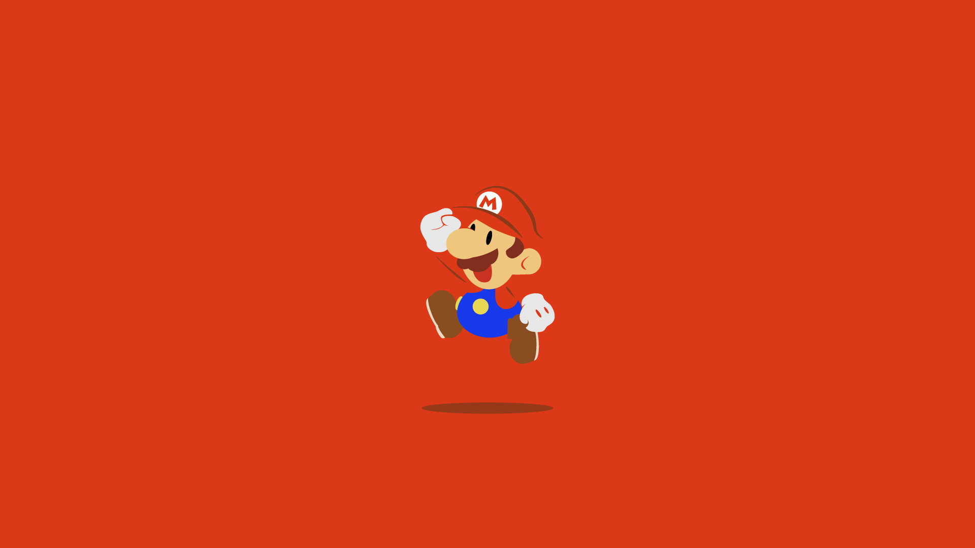 1920x1080 Red desktop wallpaper with Super Mario jumping.