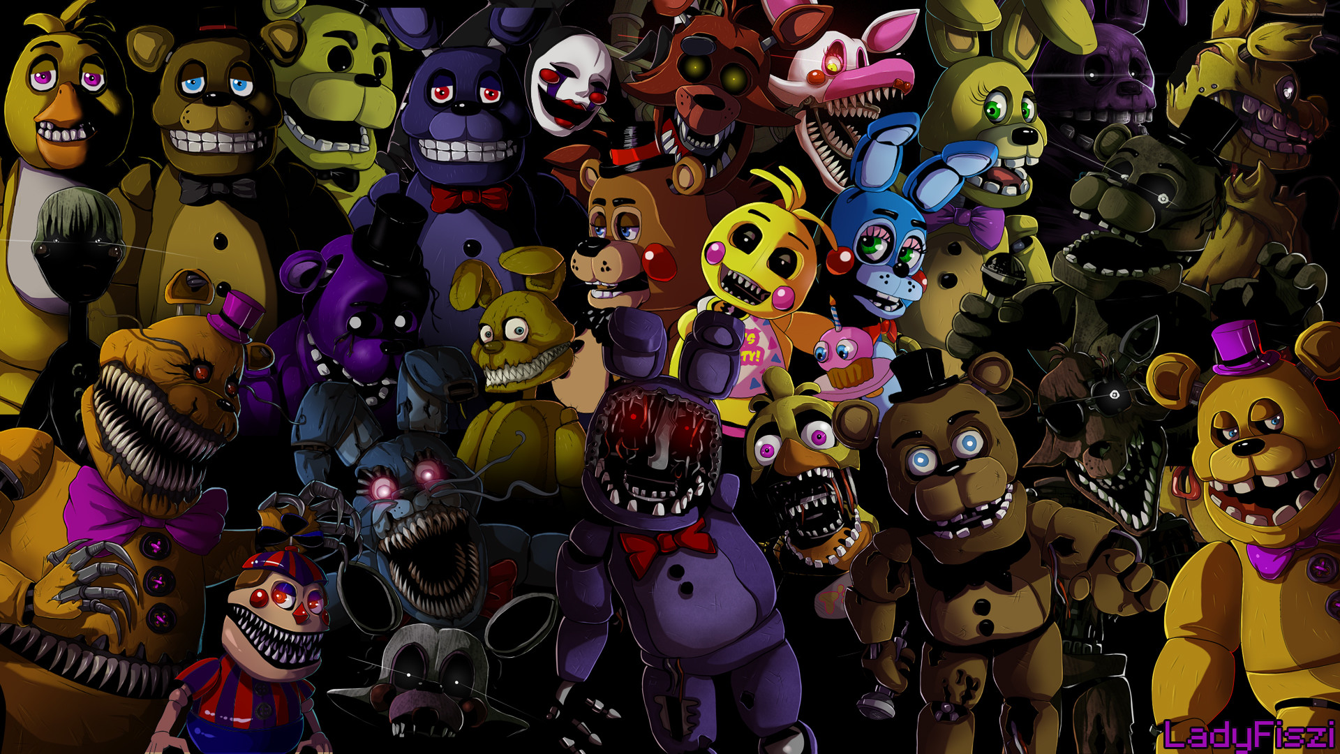 1920x1080 ... Five nights at Freddy's animatronics wallpaper by LadyFiszi