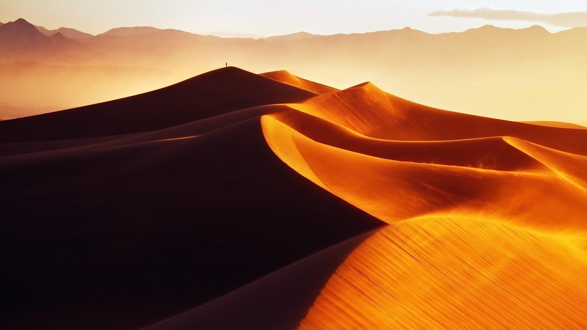 2048x1152 Desert Morning Golden Sand Dune Dunes Man Light