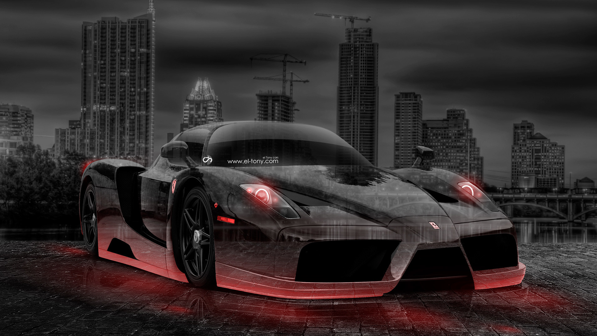 1920x1080 Ferrari-Enzo-Crystal-City-Car-2014-Orange-Neon-