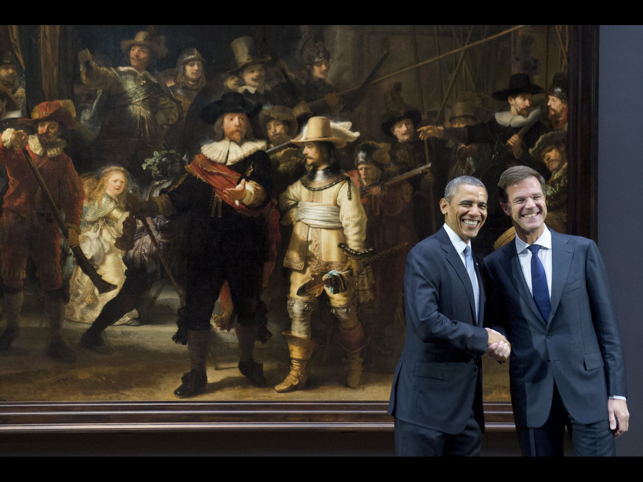 2048x1536 Obama and Rutten in front of The Night Watch a 1642 painting of Rembrandt  van Rijn