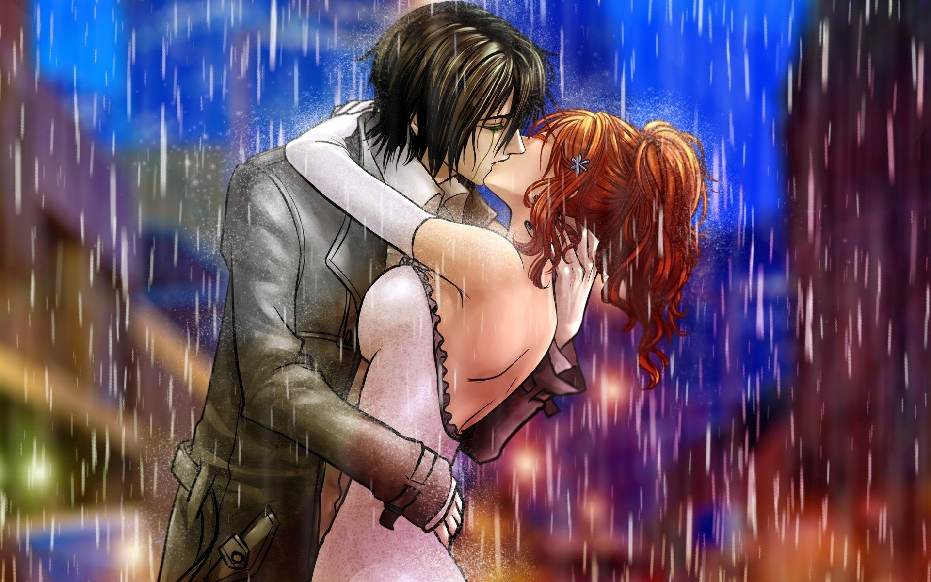 1920x1200 Wallpaper Boy, Girl, Kiss, Rain, Hug
