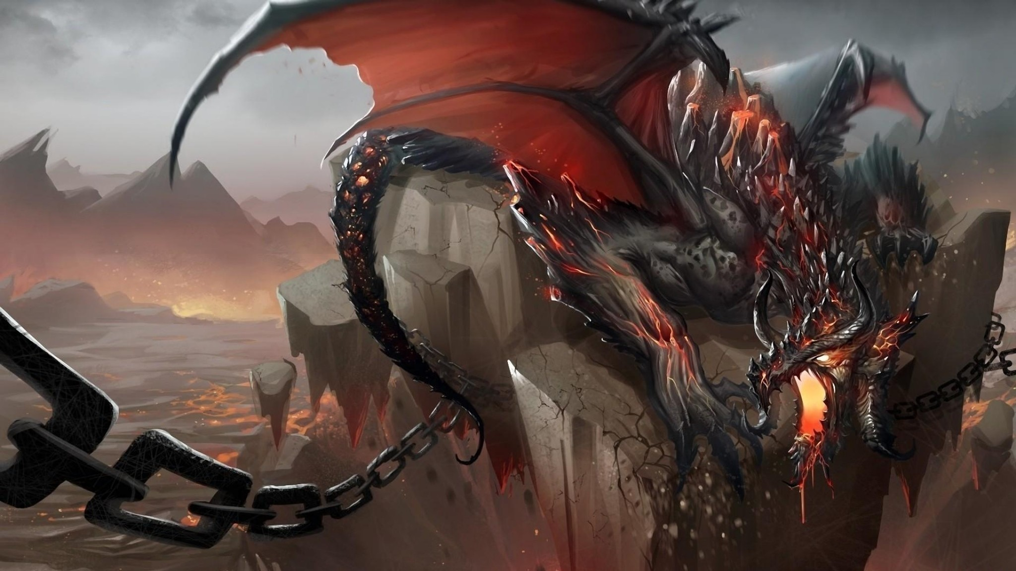 2048x1152 Preview wallpaper dragon, jaws, chains, stone, shatter