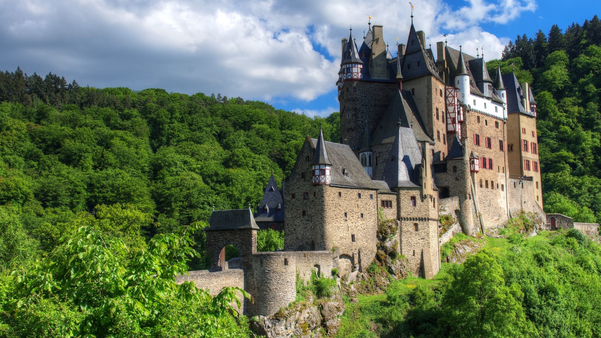 1920x1080 Medieval - Castle Eltz Germany Hills Forest Clouds Building Nature Pictures  for HD 16:9
