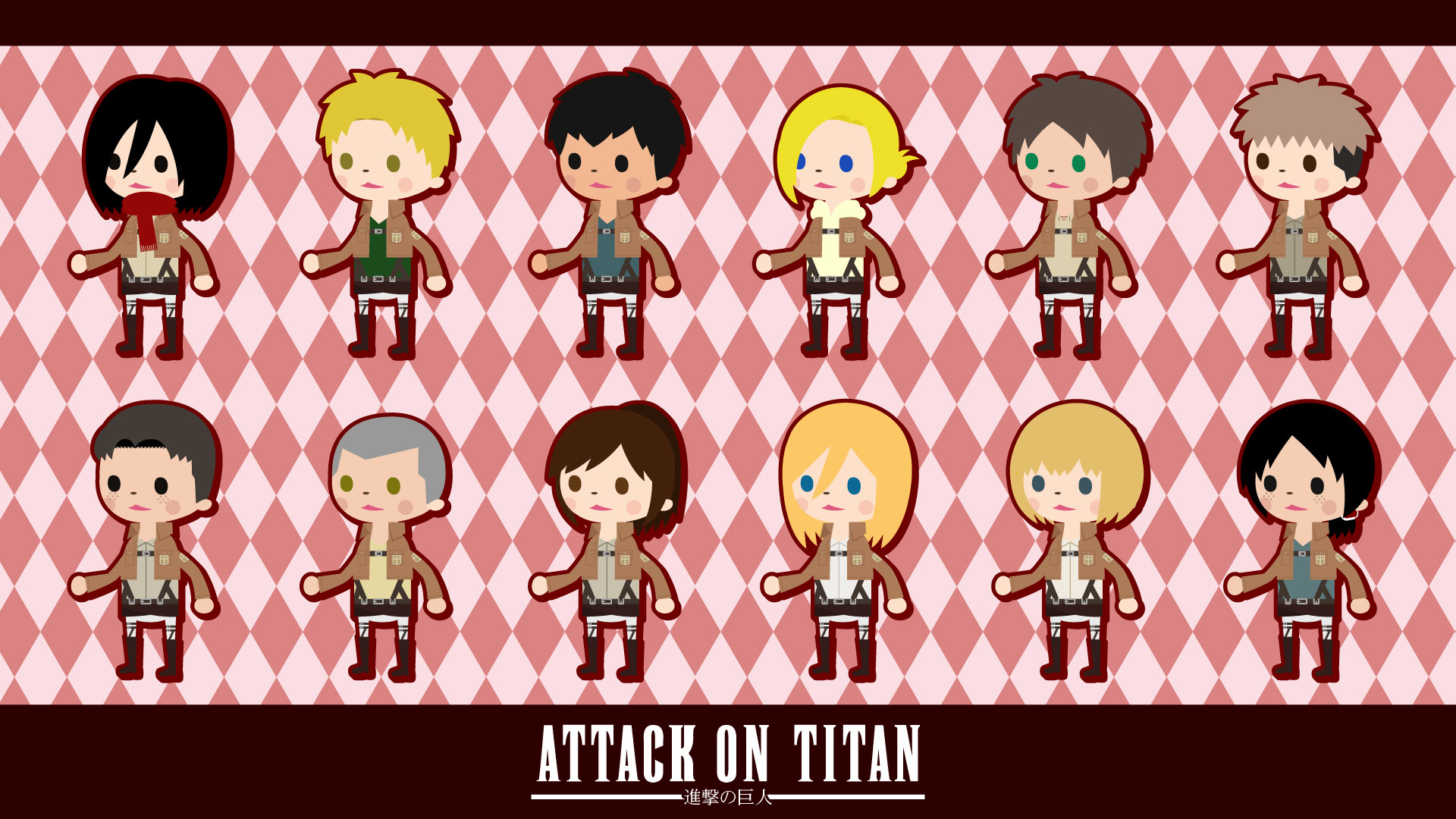 1920x1080 Shingeki no Kyojin 104th Trainees Squad chibi wallpaper |  |  129200 | WallpaperUP