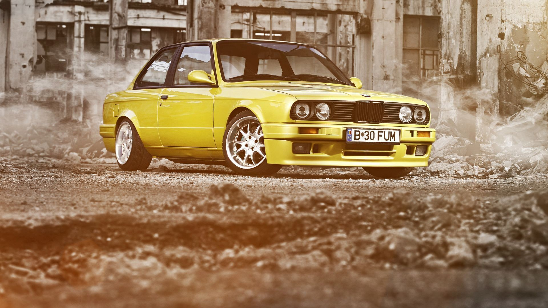 1920x1080 coupe ruins bmw yellow 3 series yellow e30