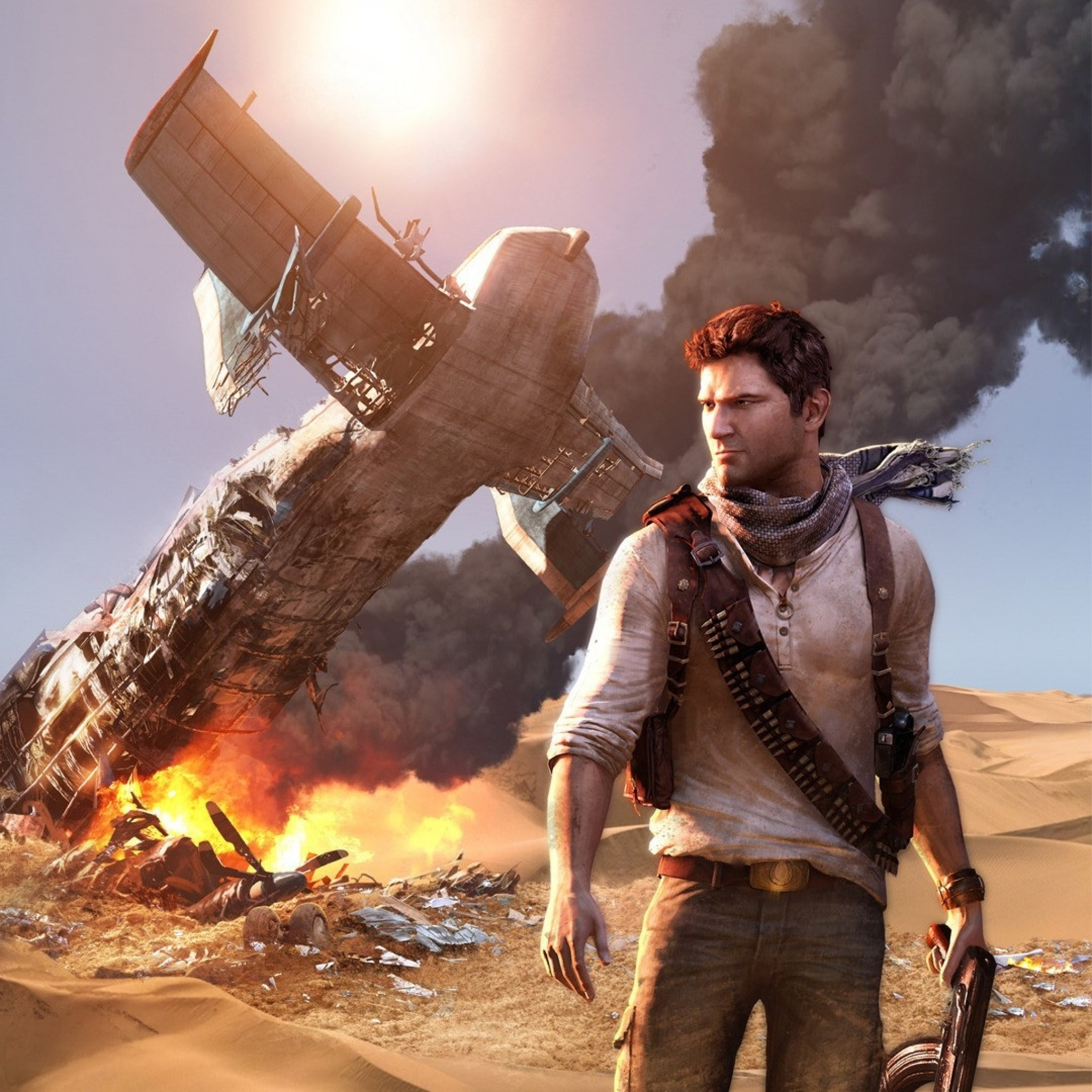 2048x2048 Preview wallpaper uncharted, airplane, wildfire, crash, desert