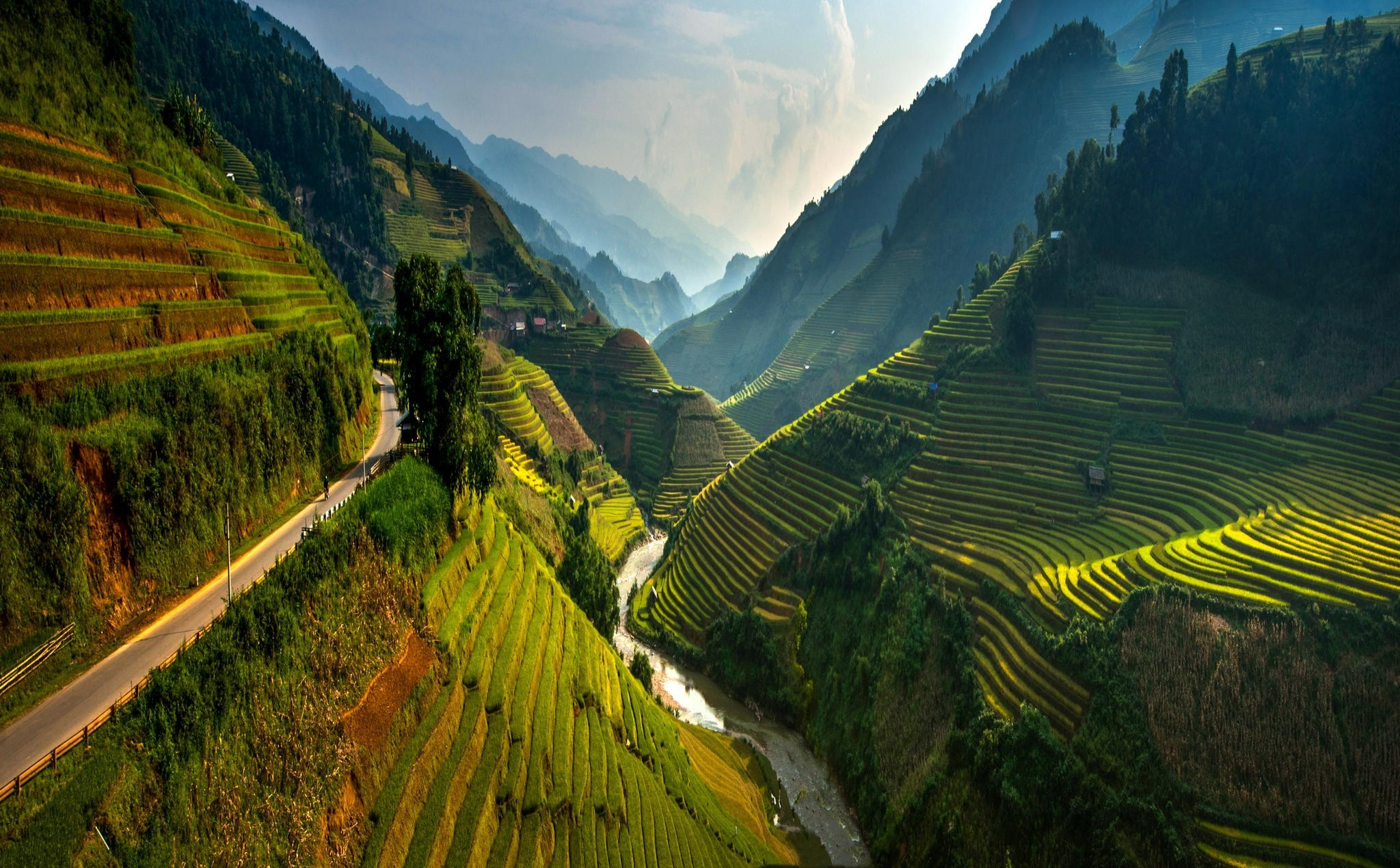 2048x1270 rice Paddy, Terraces, Valley, Vietnam, Mountain, Road, Mist, River, Green,  Trees, Spring, Landscape, Nature Wallpapers HD / Desktop and Mobile  Backgrounds