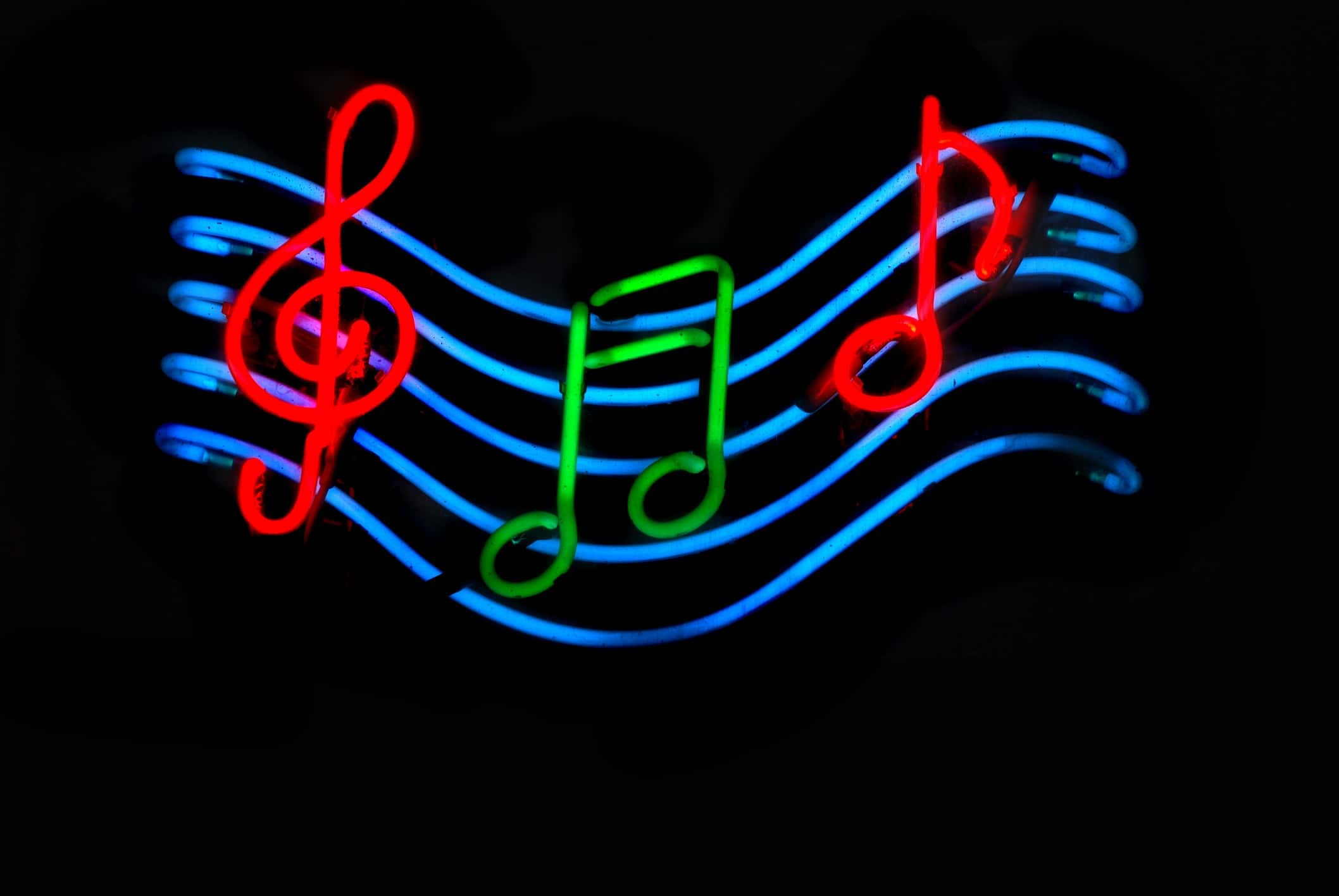 2116x1416 Neon Music Notes Wallpaper #S639CK4