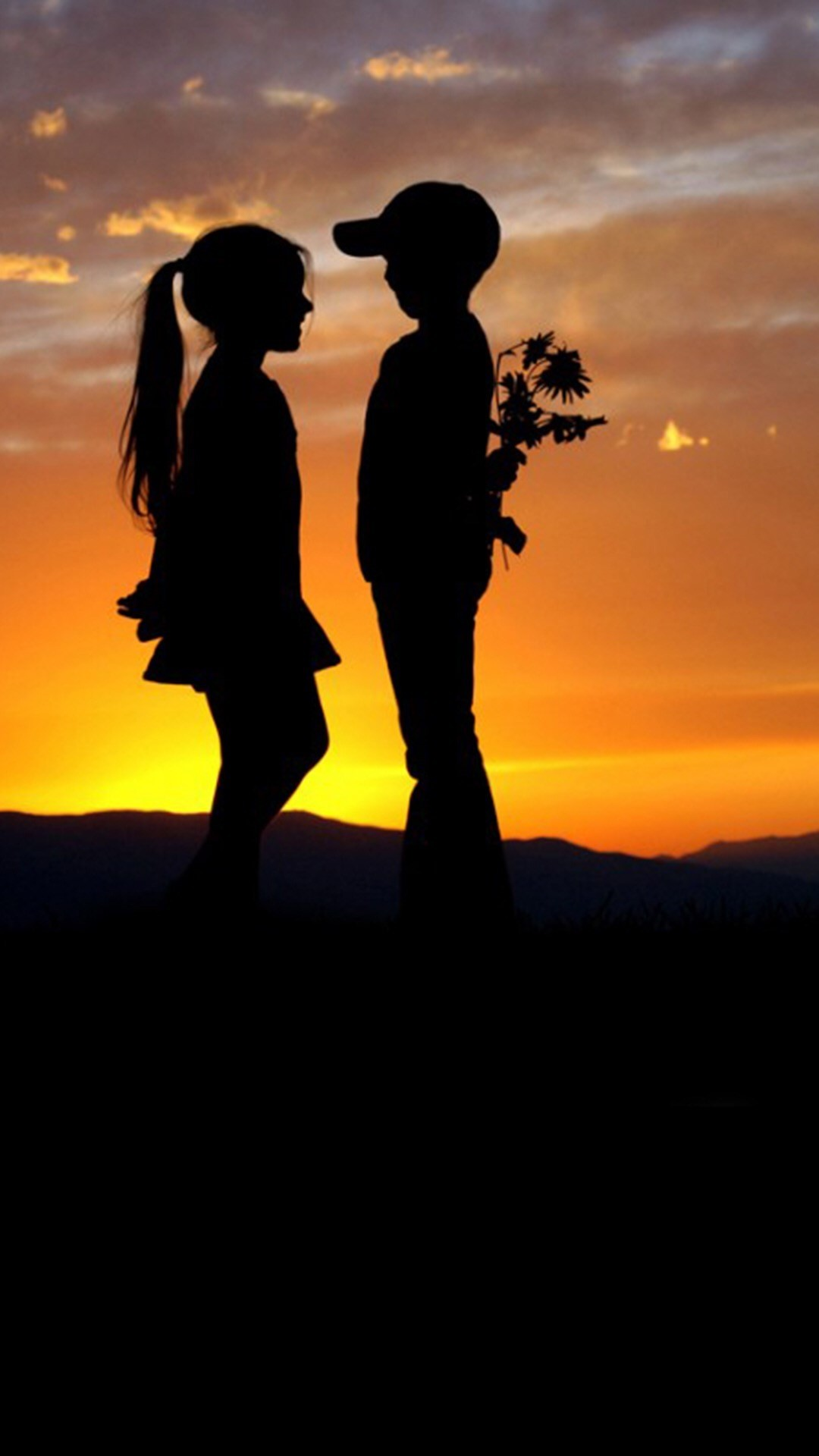 1080x1920 ... Mountain Top Cute Lovely Kids Silhouette Romantic Scene iPhone 8  wallpaper.