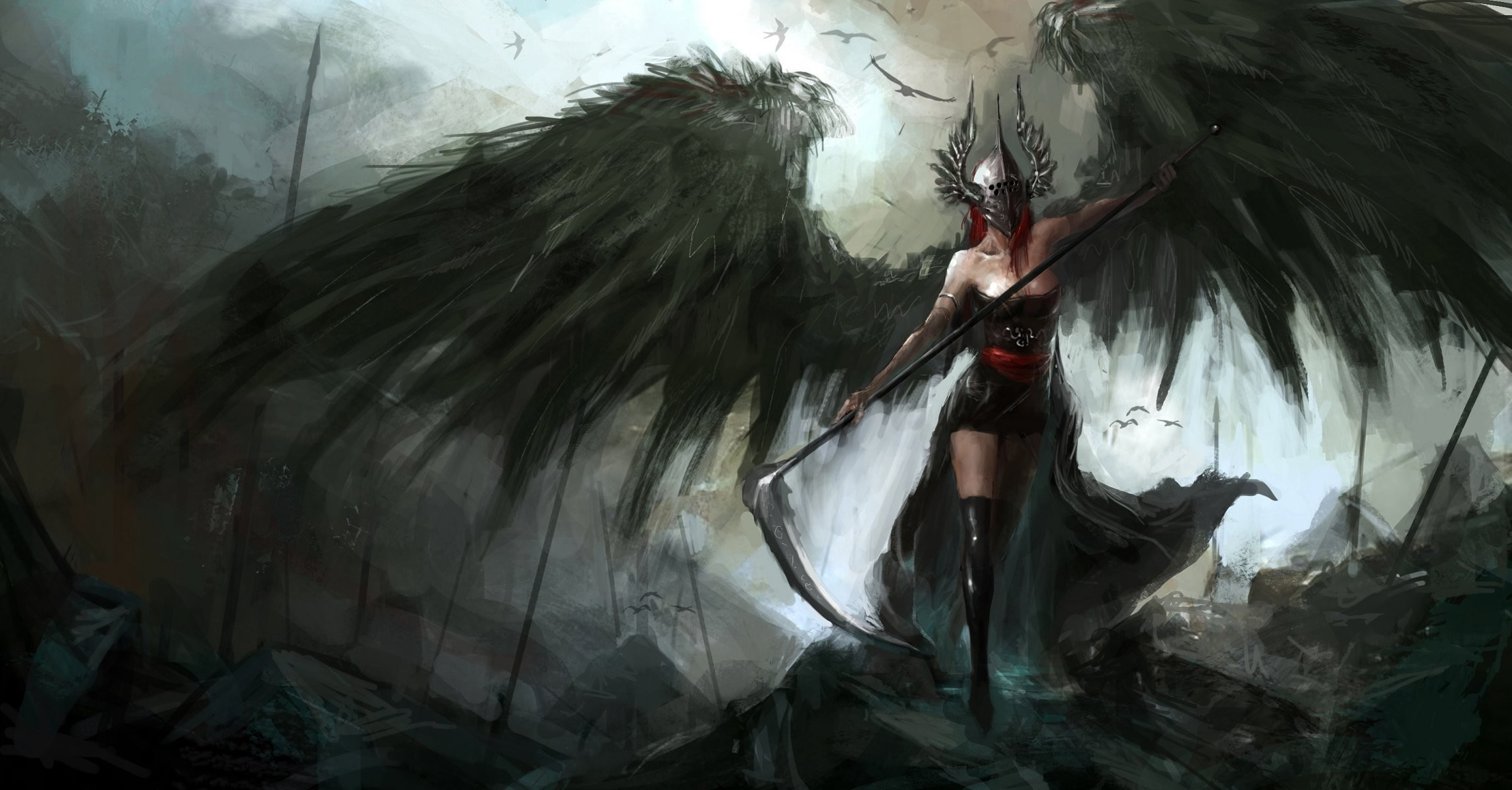 2296x1200 fiction art fallen angel wings helmet spit weapon