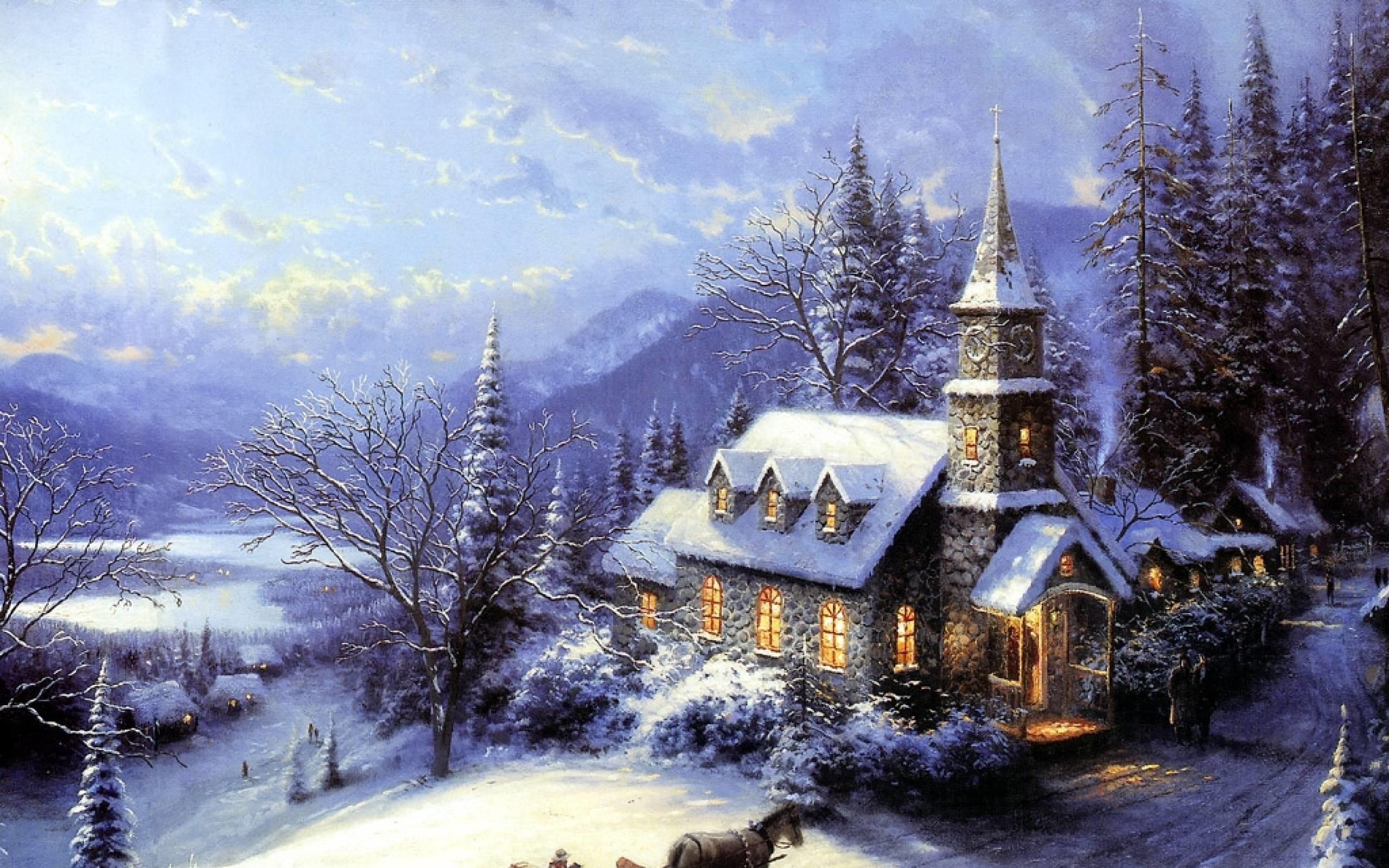 2560x1600 Xmas Stuff For Thomas Kinkade Christmas Tree Wallpaper