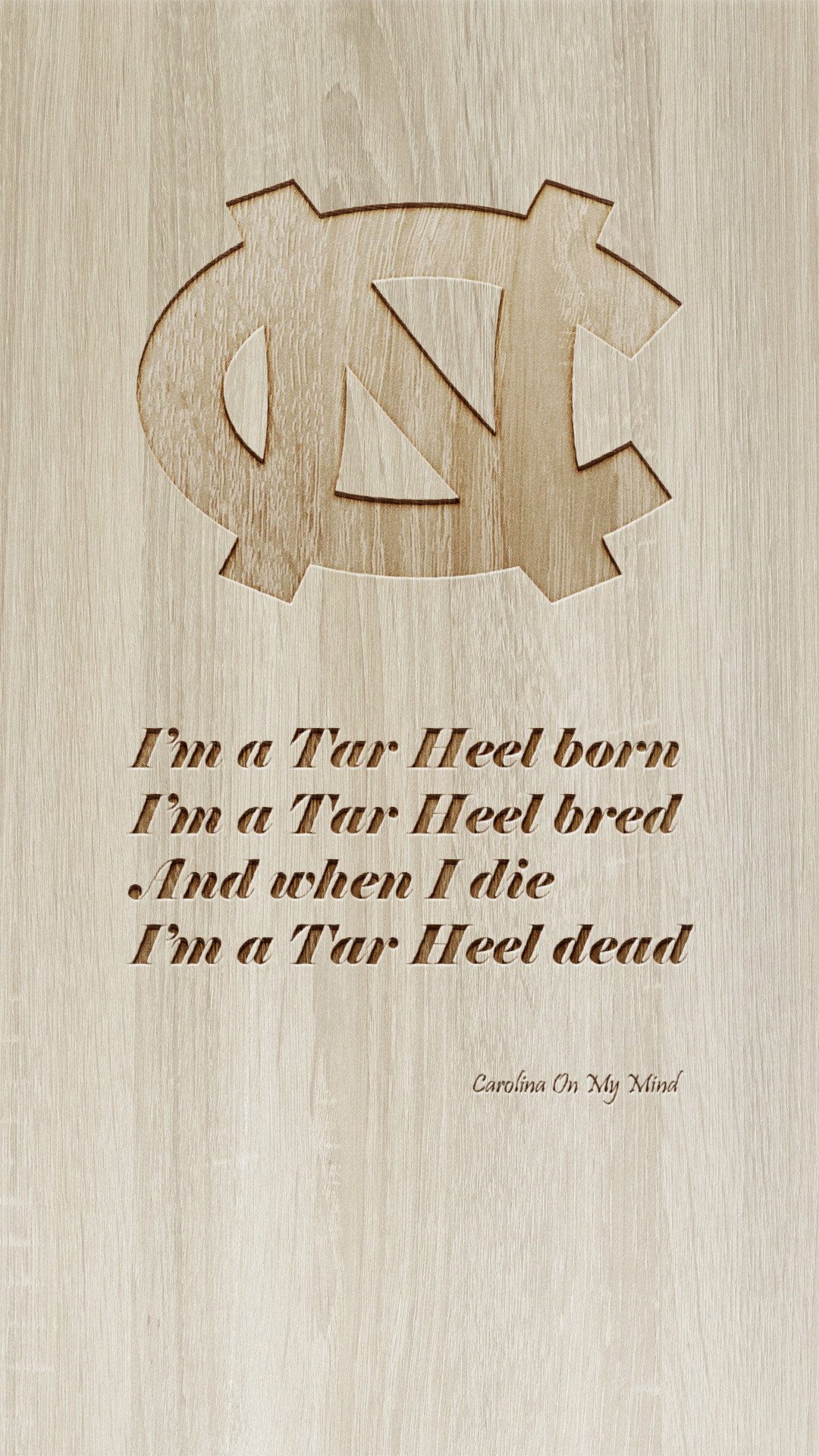 1080x1920 UNC Phone Wallpaper Engraved Wood
