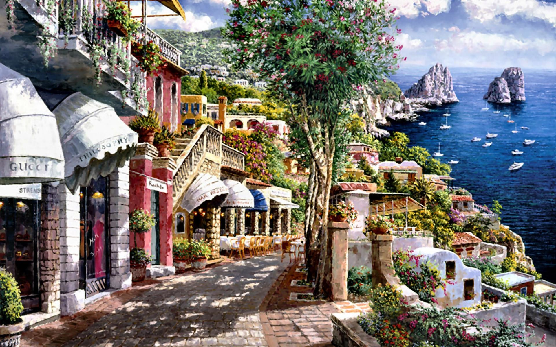 1920x1200 Bild: Shops Schöne Capri Italien wallpapers and stock photos. «