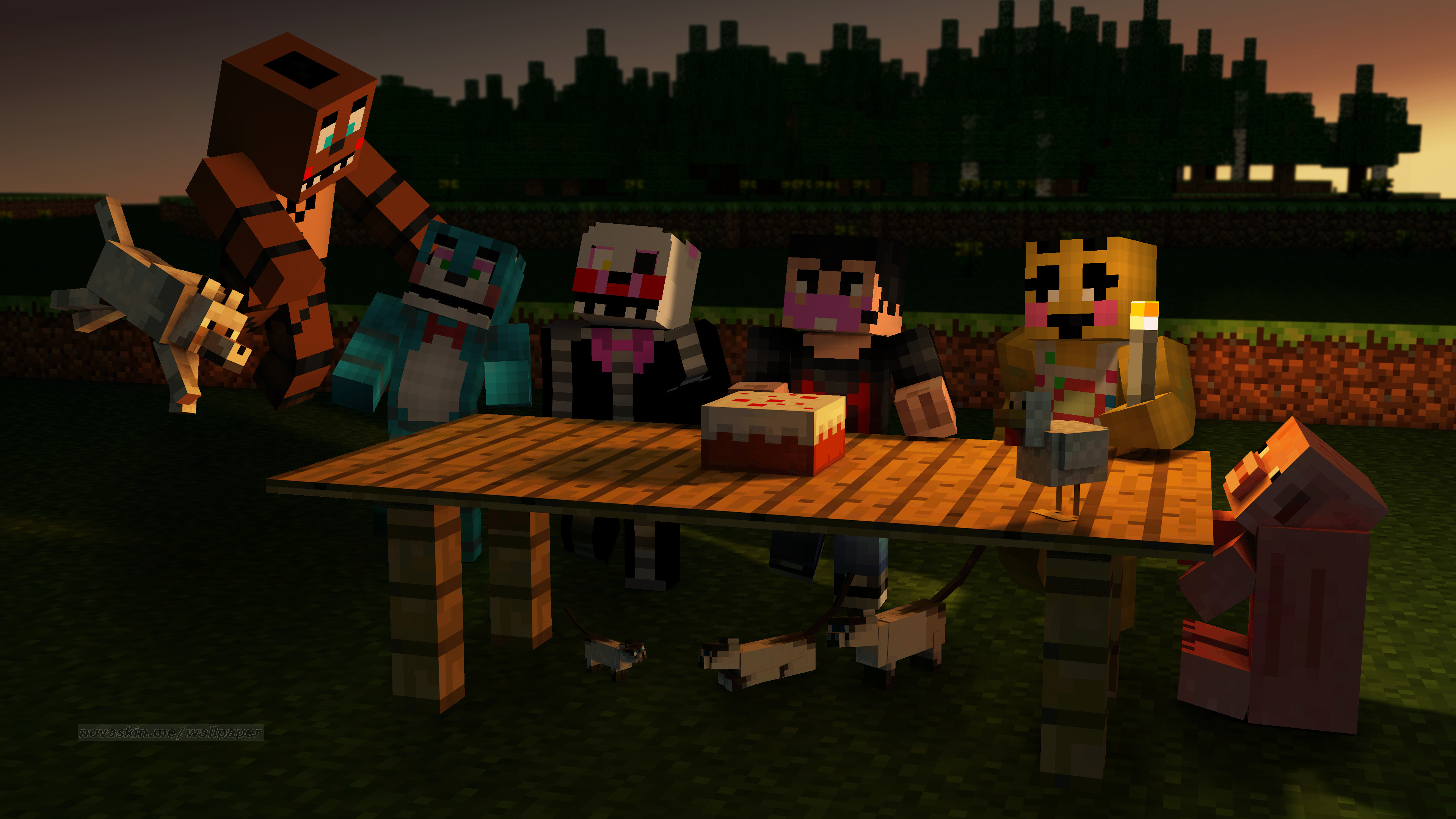 3840x2160 my wallpaper of minecraft fnaf toy animatronics corgratulating markiplier  beating 10/20 mode