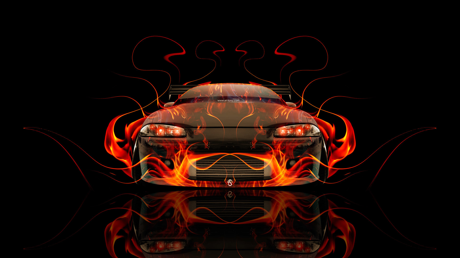 1920x1080 Mitsubishi Eclipse JDM Tuning Front Fire Abstract Car