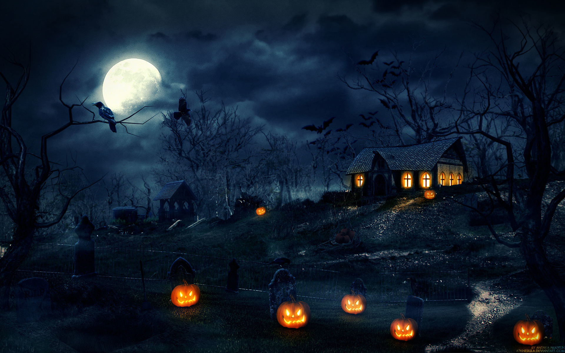 1920x1200 Happy Halloween Pumpkins Wallpaper HD.