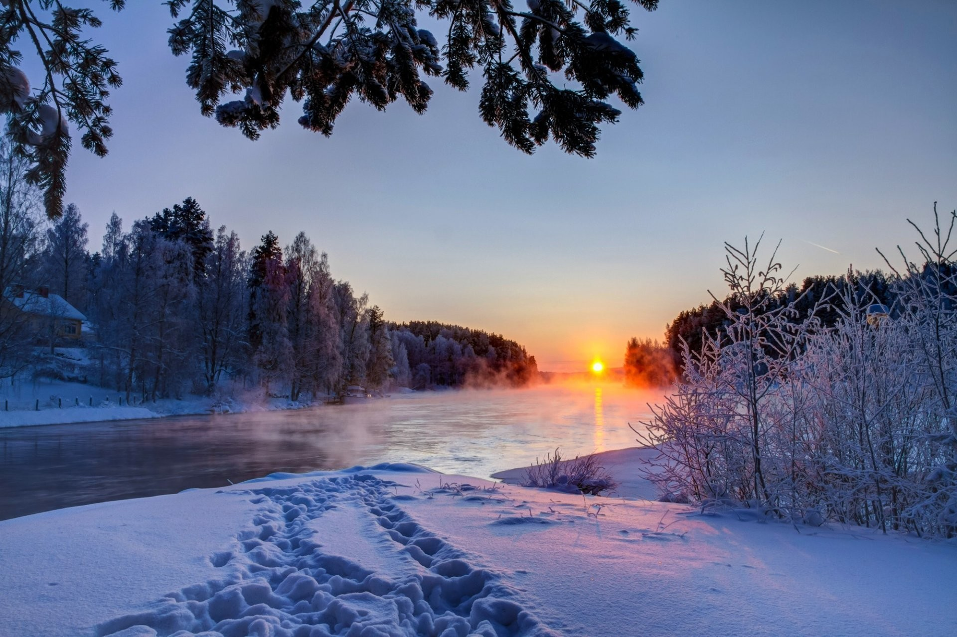 1920x1279 nature winter sunset snow river sky clouds white landscape nature winter  sunset sun sky clouds white