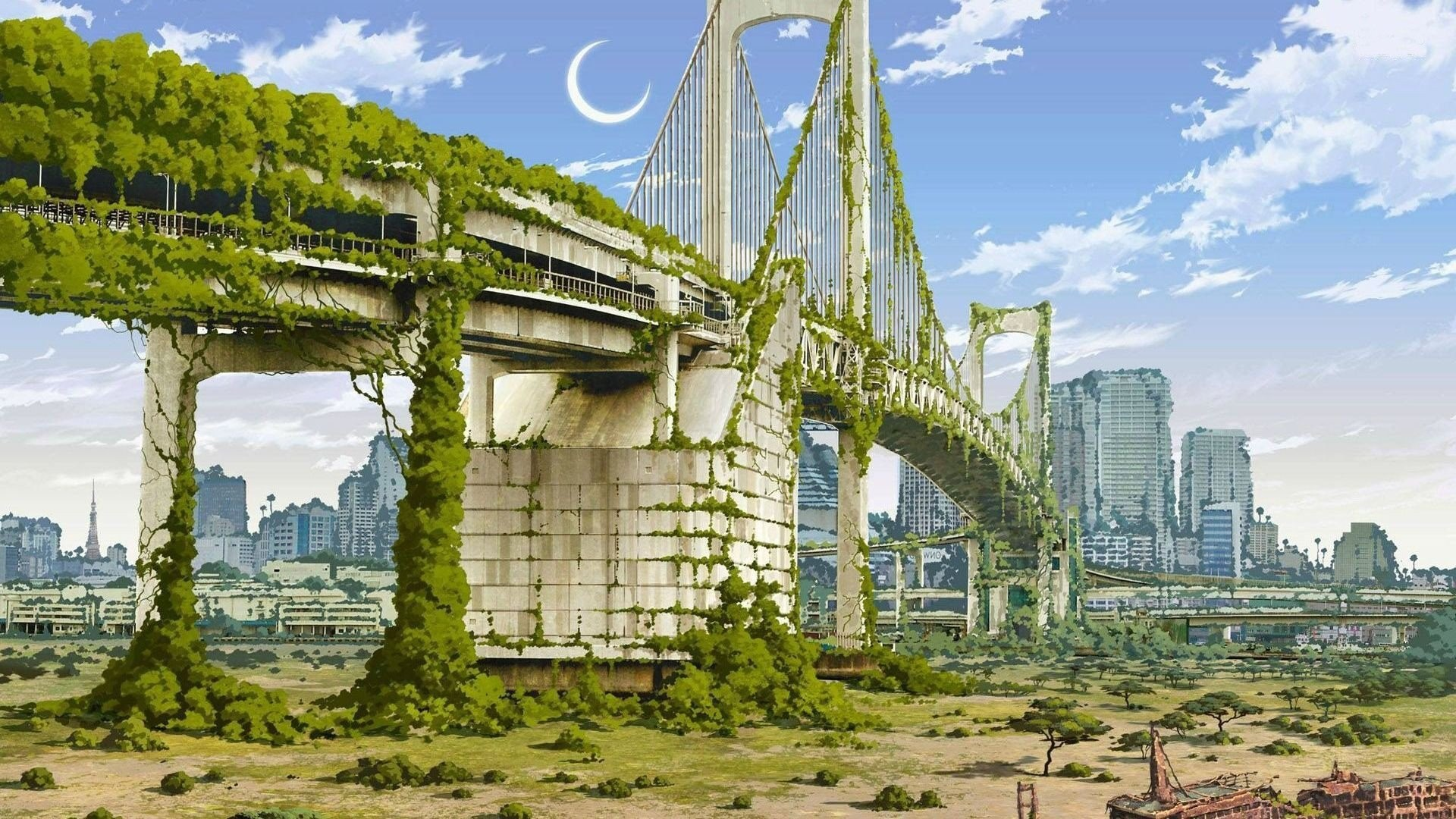 1920x1080 Anime Artwork Cities Nature Japan Fantasy Art Apocalyptic