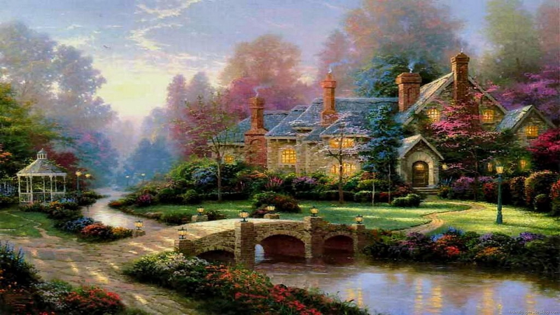 1920x1080 Thomas Kinkade Summer Paintings | Thomas Kinkade Wallpaper, Paintings, Art, HD,