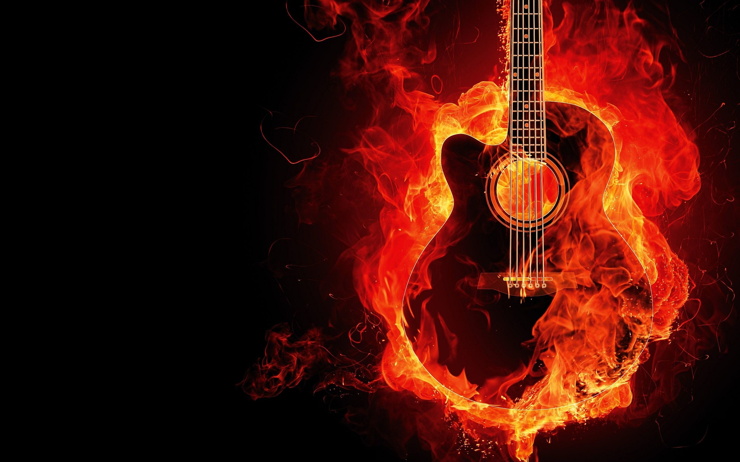 2560x1600 Guitar on Fire