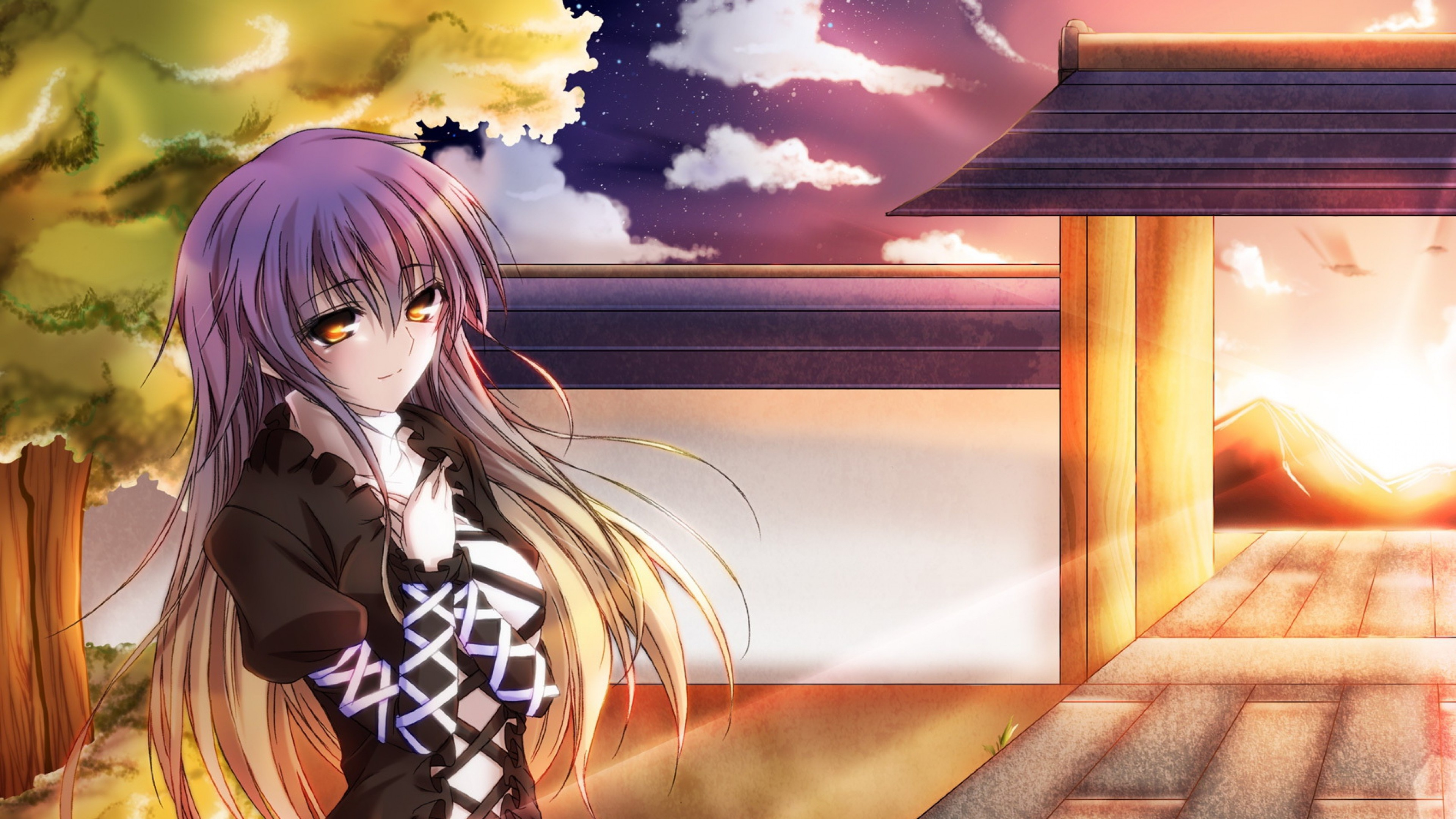3840x2160  Wallpaper touhou collection, girl, pretty, sunset