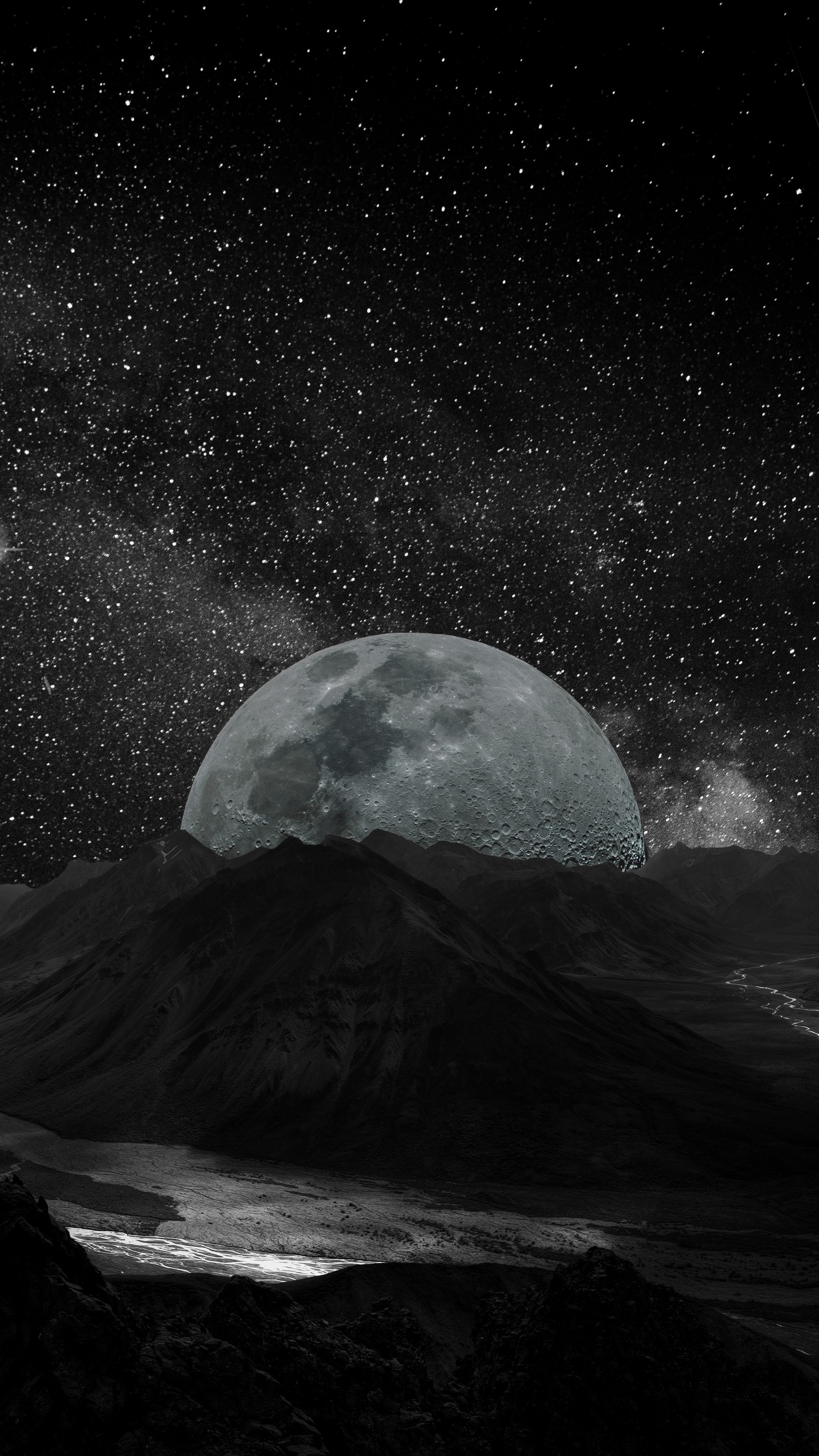 2160x3840  Wallpaper moon, planet, stars, galaxy, space