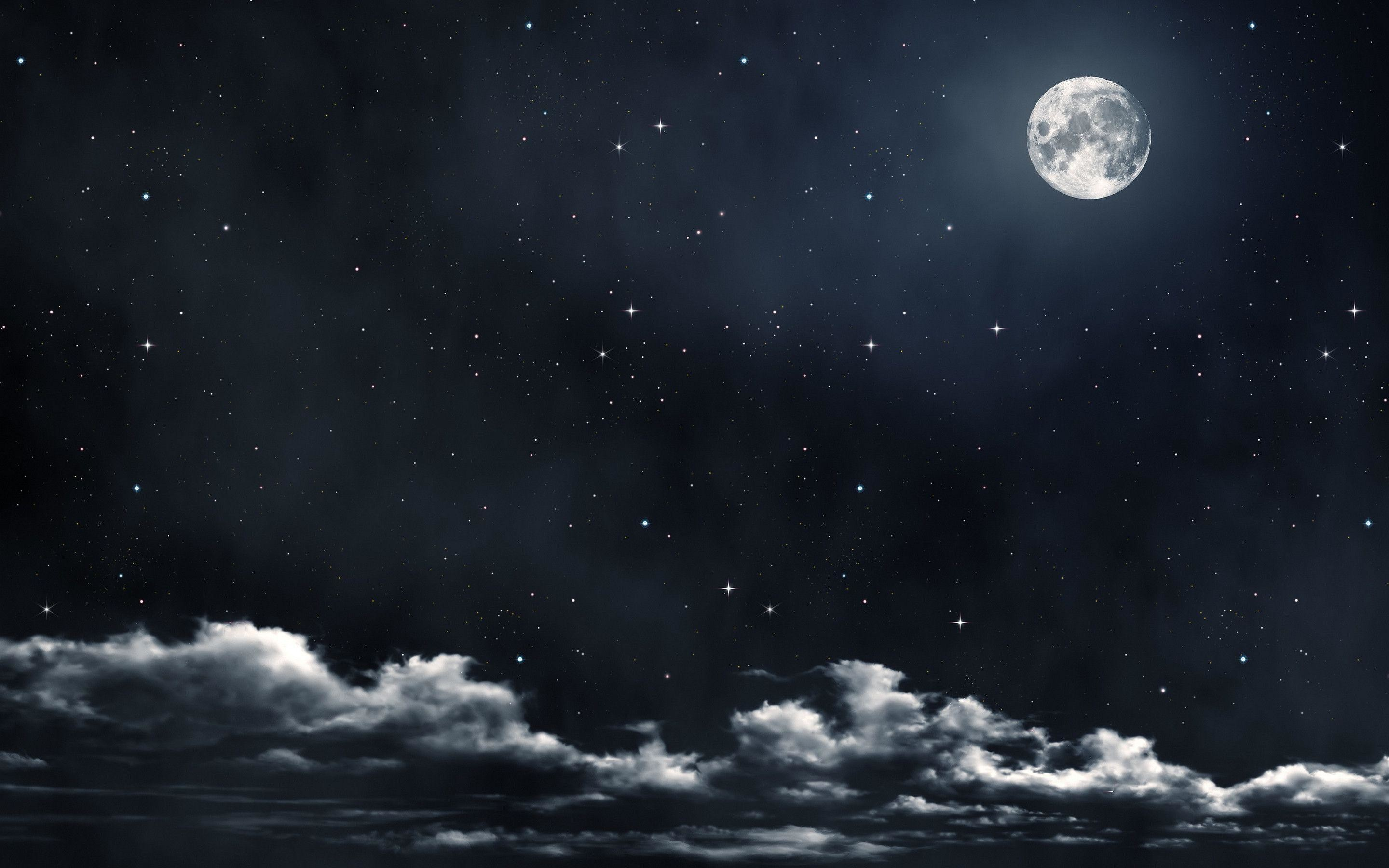 2880x1800 Moon And Stars Wallpaper Photos 47926 HD Pictures | Top Background .