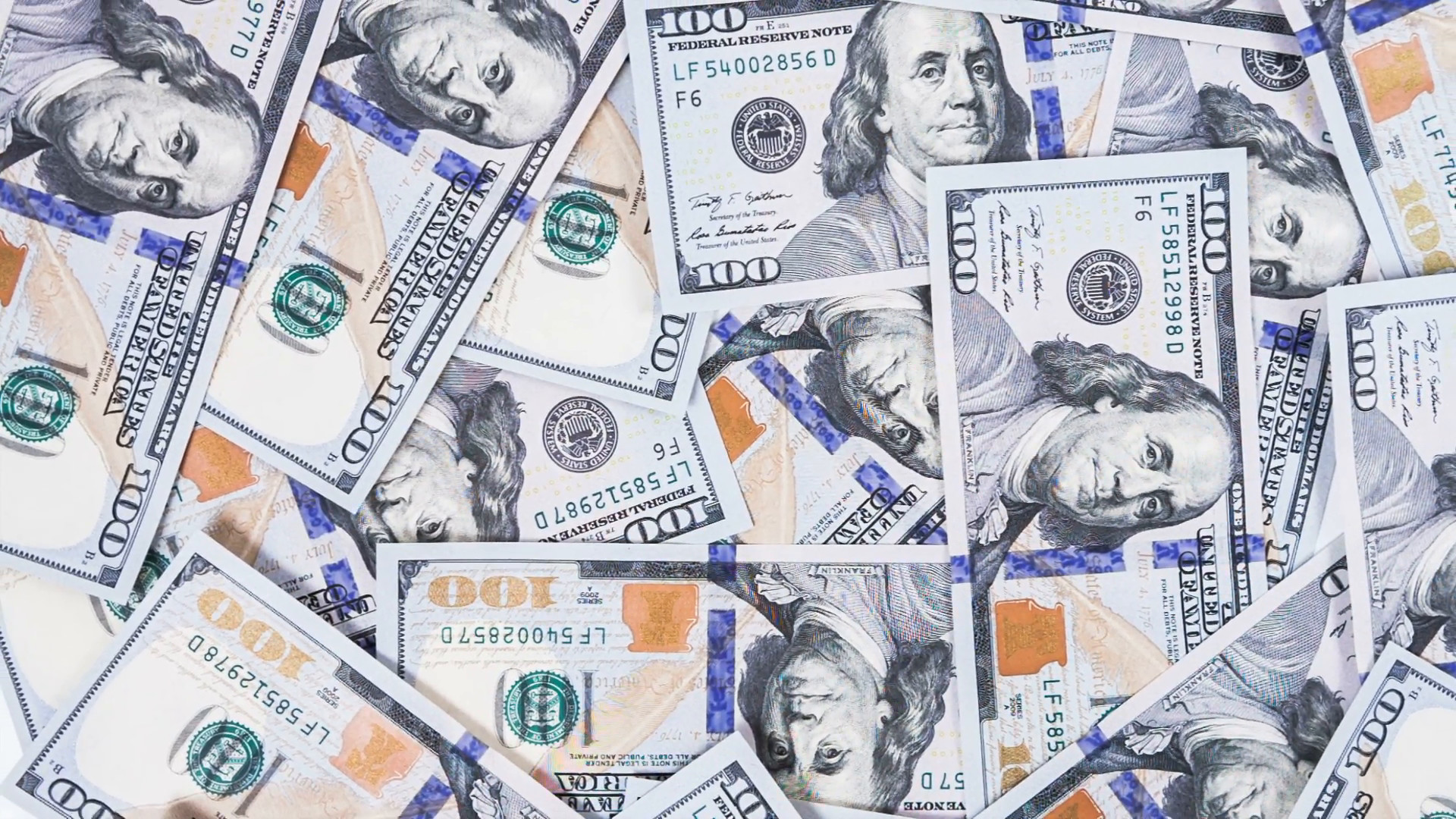 1920x1080 Background with money american hundred dollar bills rotate. RAW video  record. Stock Video Footage - VideoBlocks