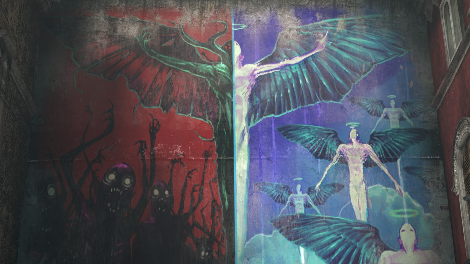 1920x1080 Angels And Demons Graffiti Urban