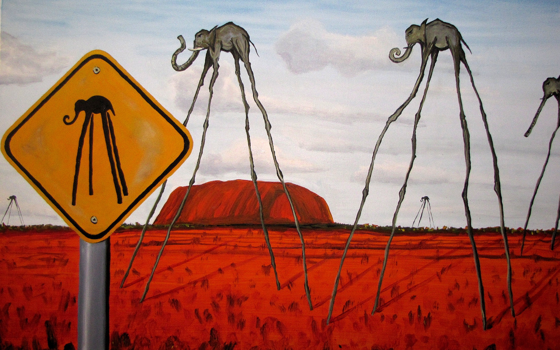 1920x1200 Salvador Dali Wallpaper painting drawing elephants HD Desktop