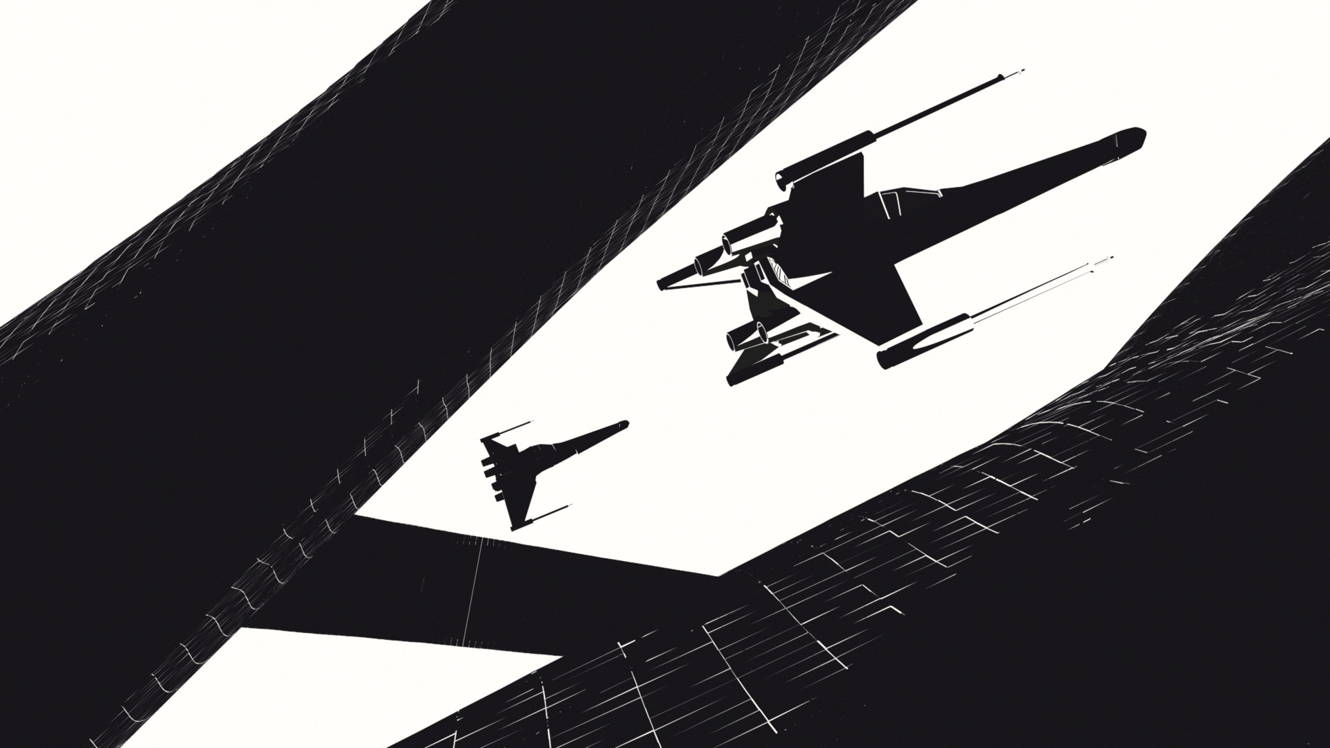 1920x1080 Black White X-Wing Wallpaper