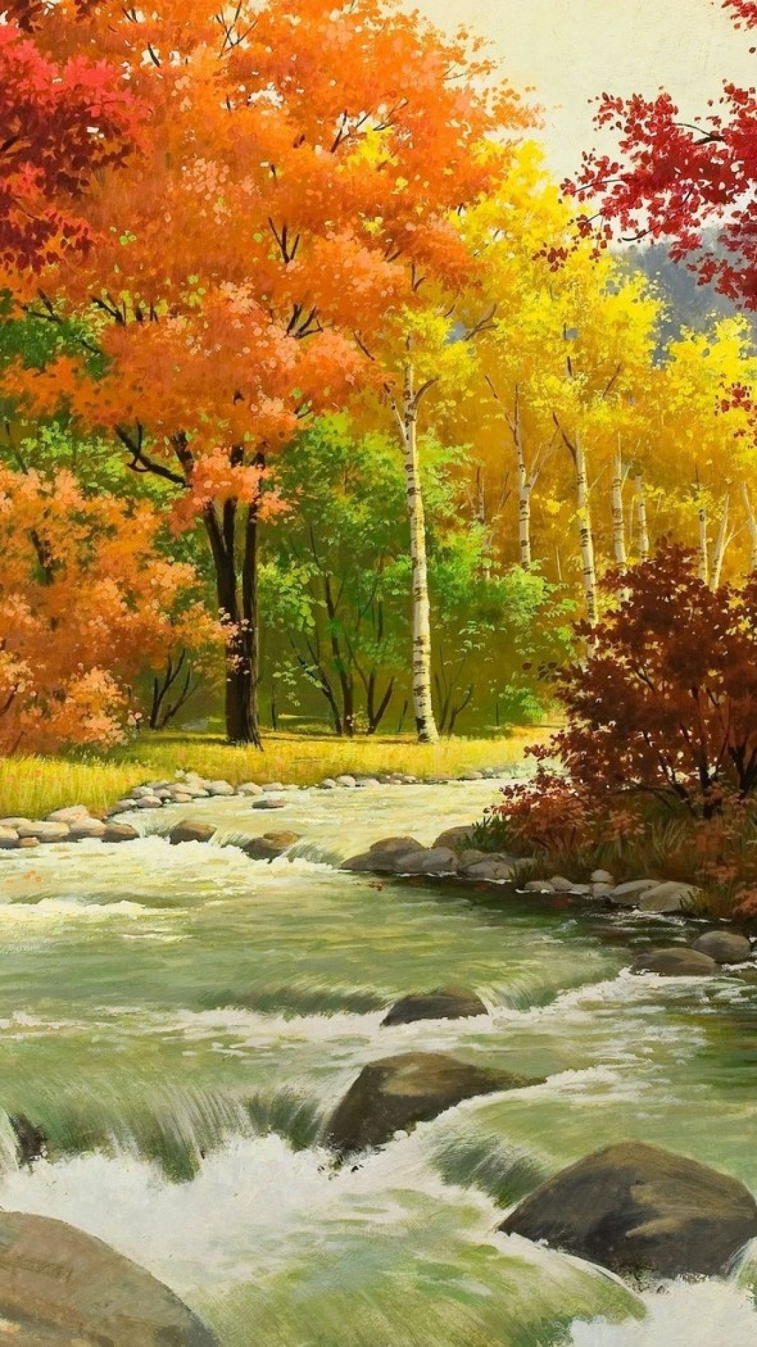 1080x1920 Download--Autumn-Landscape-Painting-River-Wood-Sony-