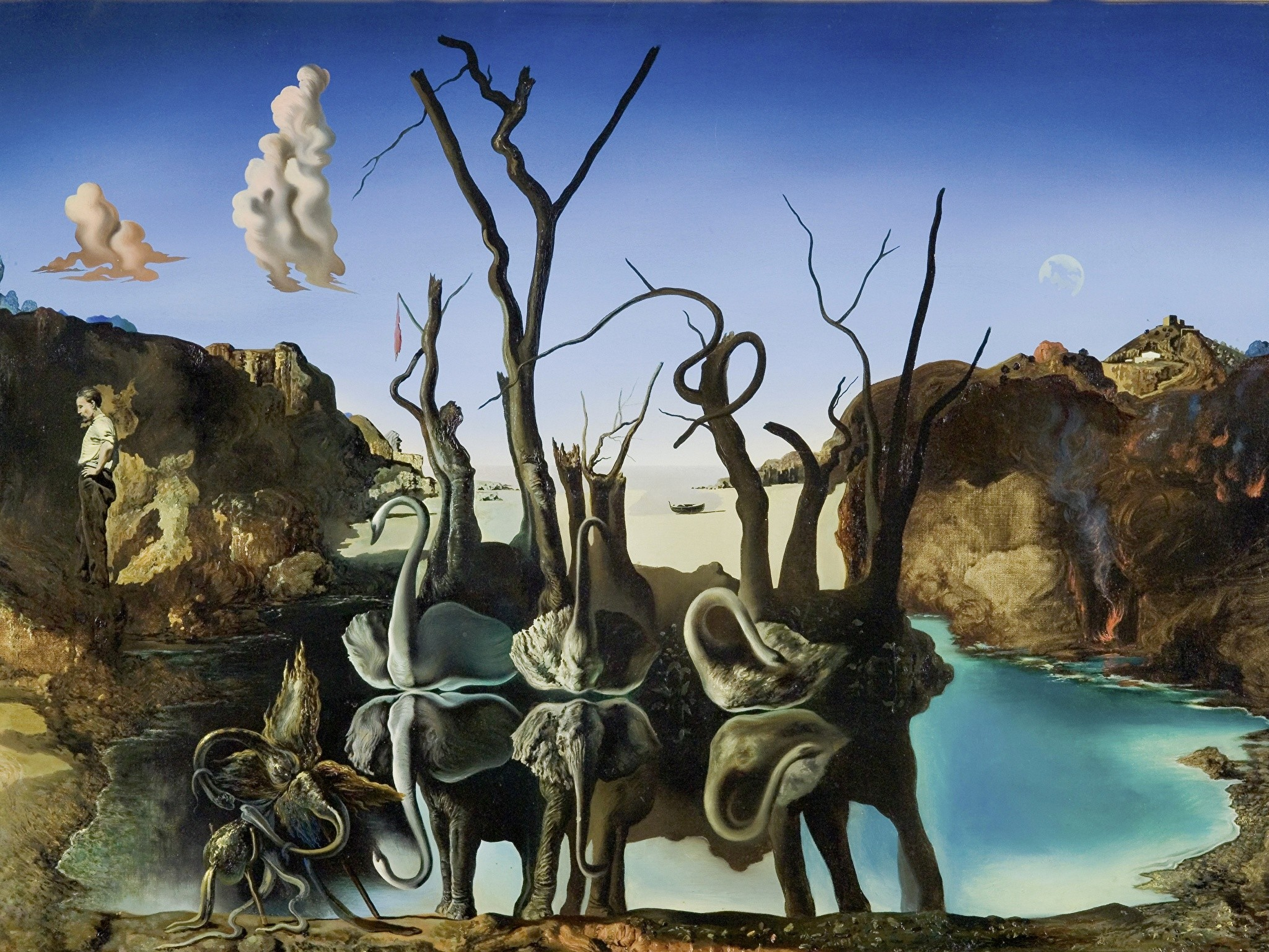 2048x1536 Wallpapers Salvador Dali Pictorial art Swans Reflecting Elephants Pictorial  art