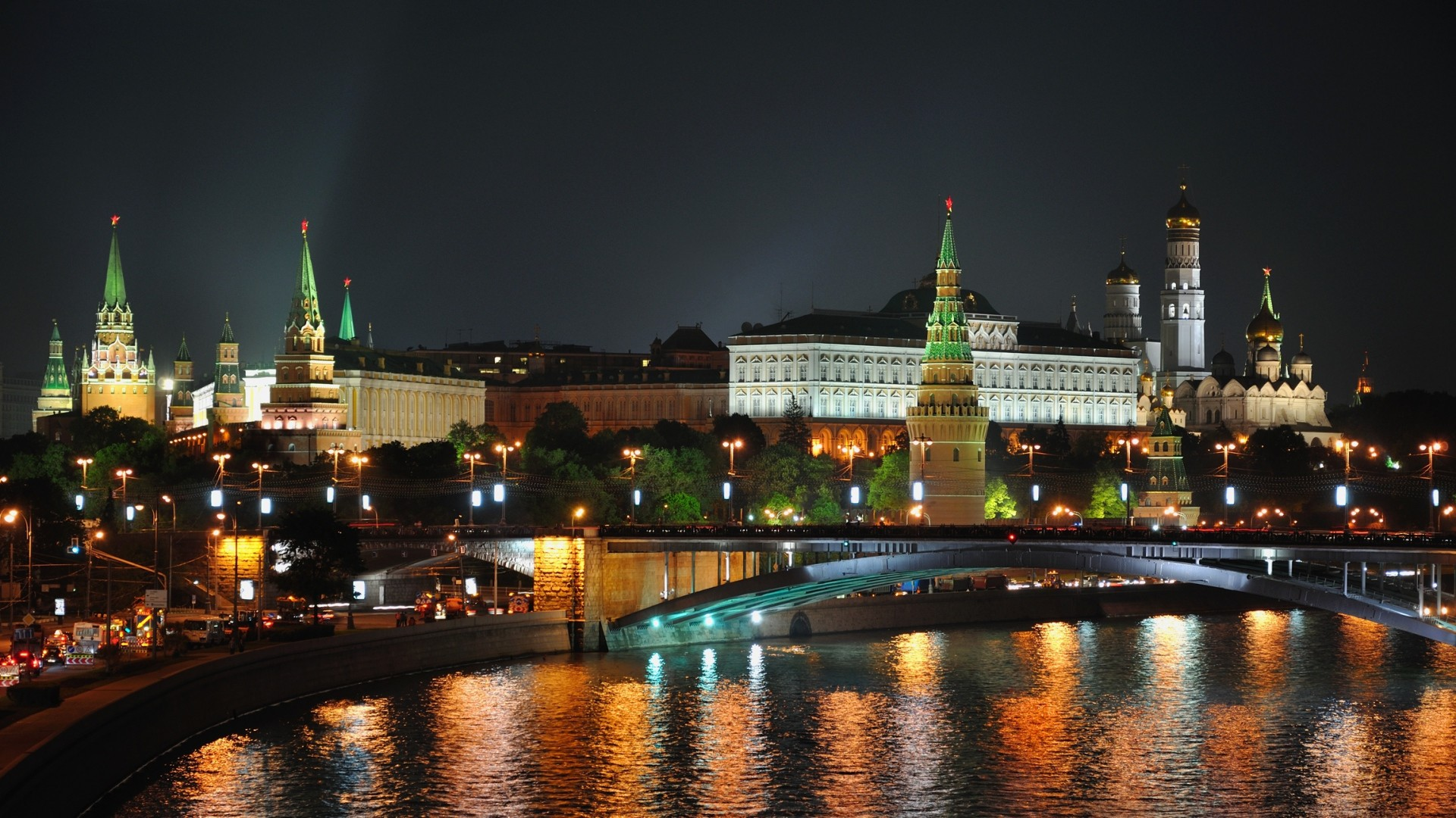 1920x1080 Preview wallpaper city , moscow, night, lights, bridge, reflection,