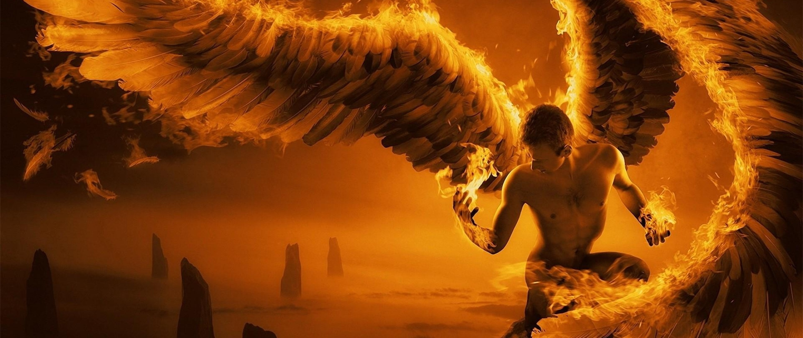 2560x1080 Preview wallpaper angel, wings, fire, fog, rocks
