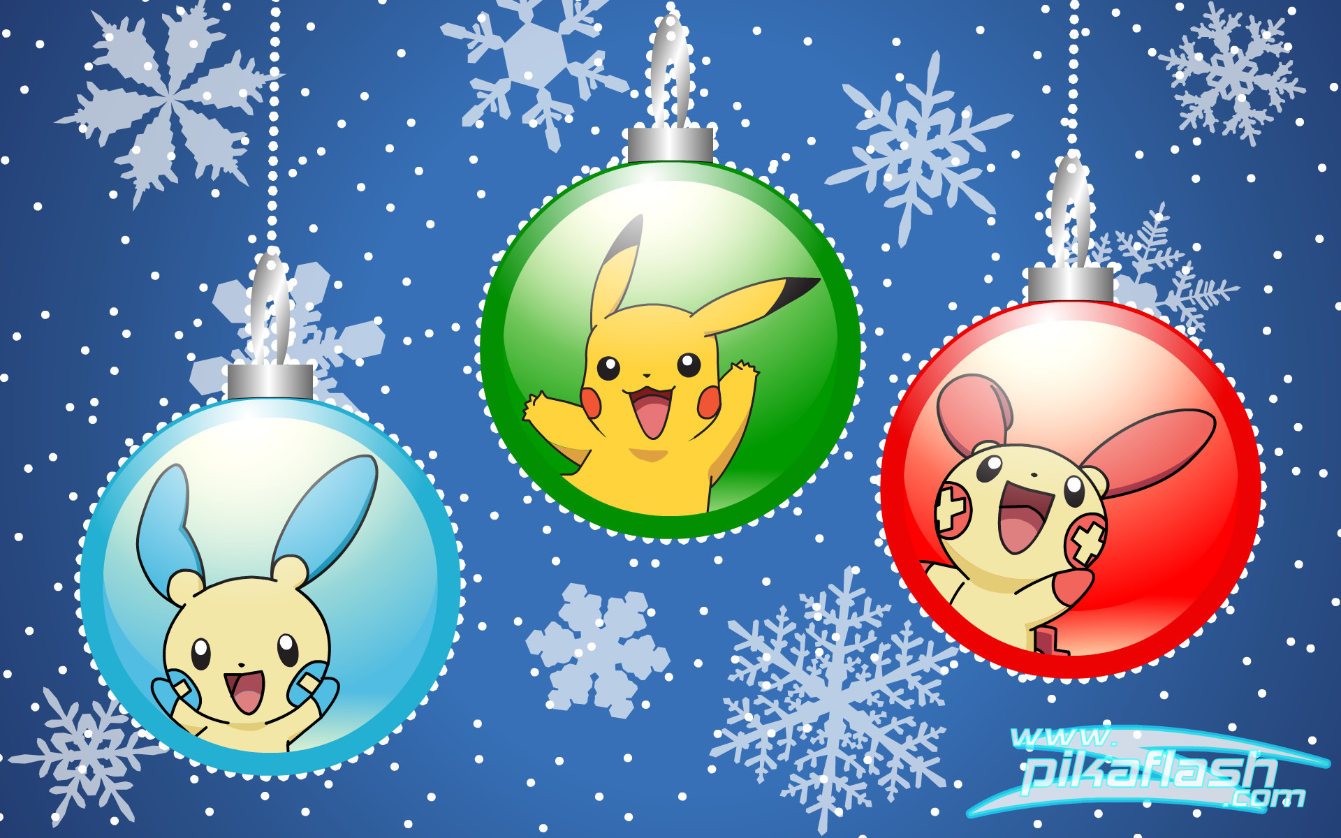 1920x1200 Video Game - Pokémon Christmas Christmas Ornaments Winter Pikachu Plusle ( Pokémon) Minun (Pokémon