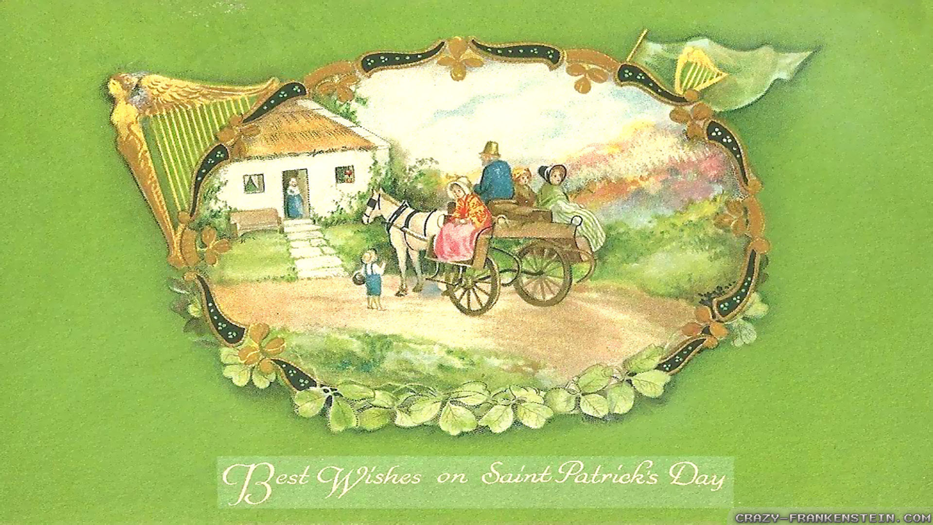 1920x1080 Wallpaper: Vintage Saint Patricks day cards wallpapers. Resolution:  1024x768 | 1280x1024 | 1600x1200. Widescreen Res: 1440x900 | 1680x1050 |  1920x1200