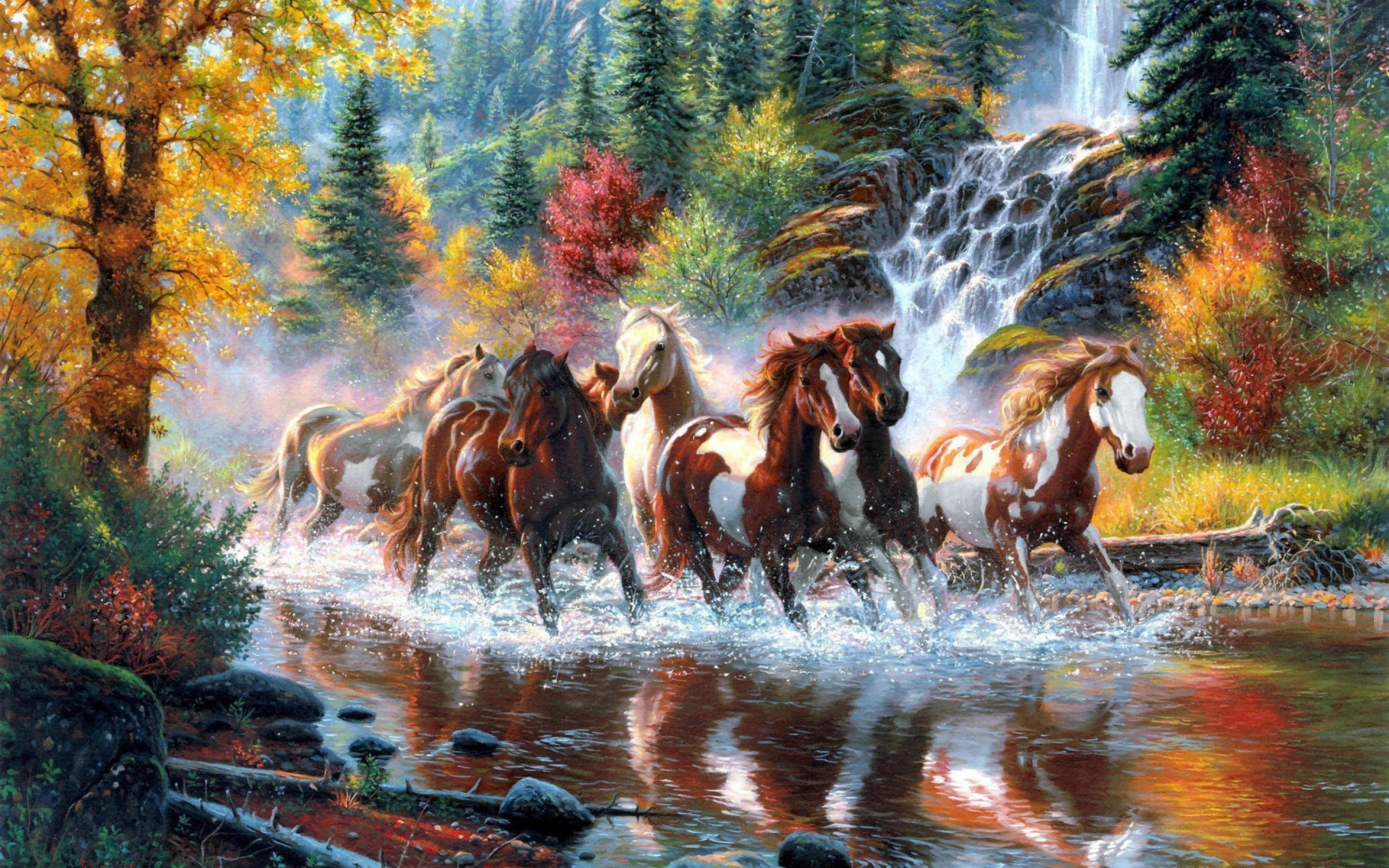 2880x1800 Landscape Nature Tree Forest Woods River Horse Artwork Painting Waterfall  Autumn Country Wester Native American Indian Wallpaper At Fantasy Wallpapers