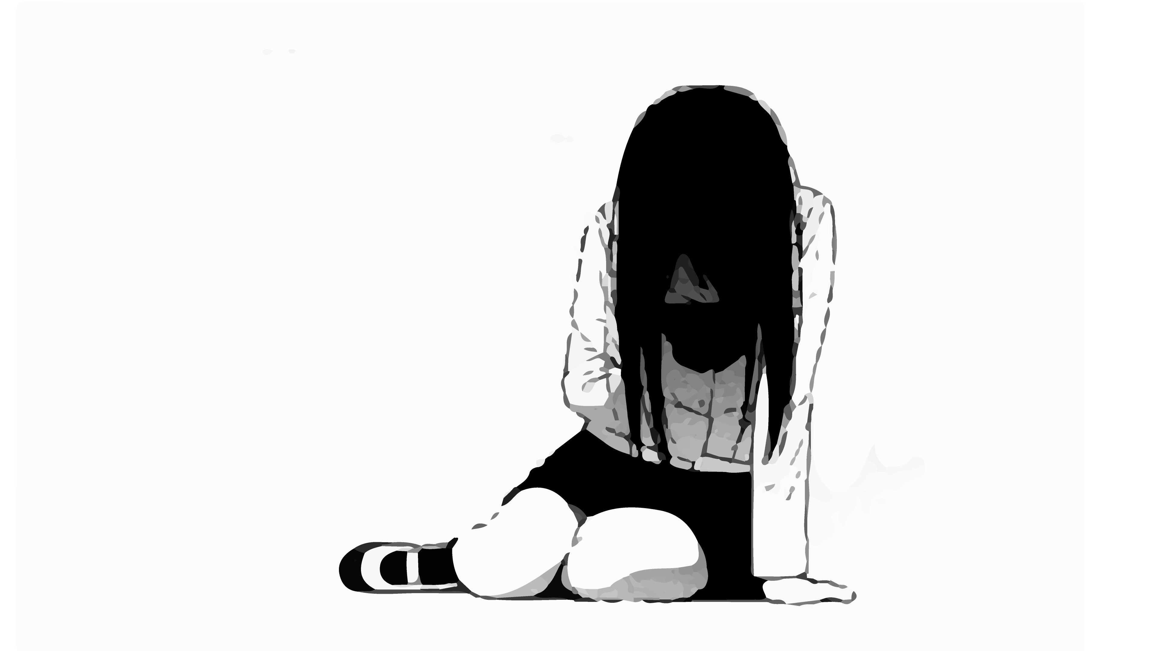 2560x1440 anime girl sad school uniform windy black hair profile view