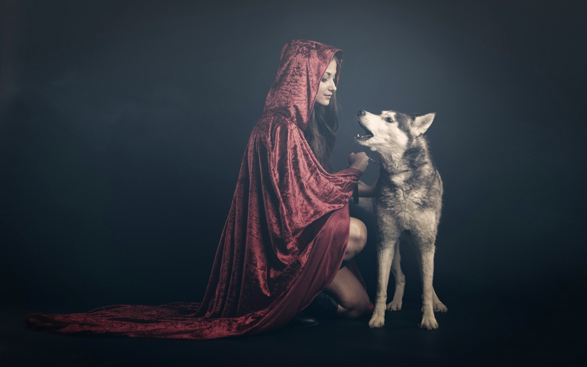 Res: 1920x1200, #wolf, #women, #animals, #Red Riding Hood wallpaper