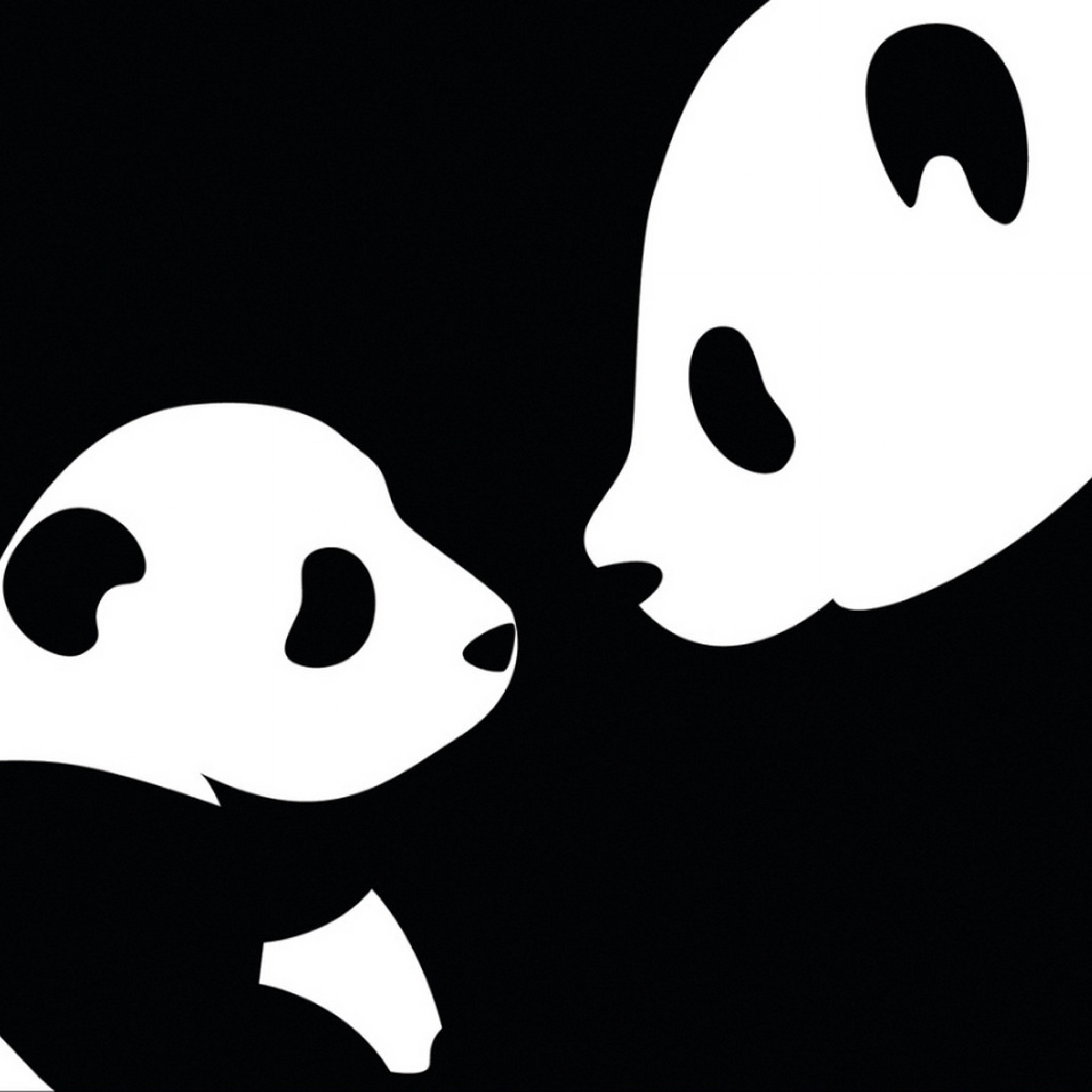 2048x2048 Preview wallpaper panda, drawing, black, white