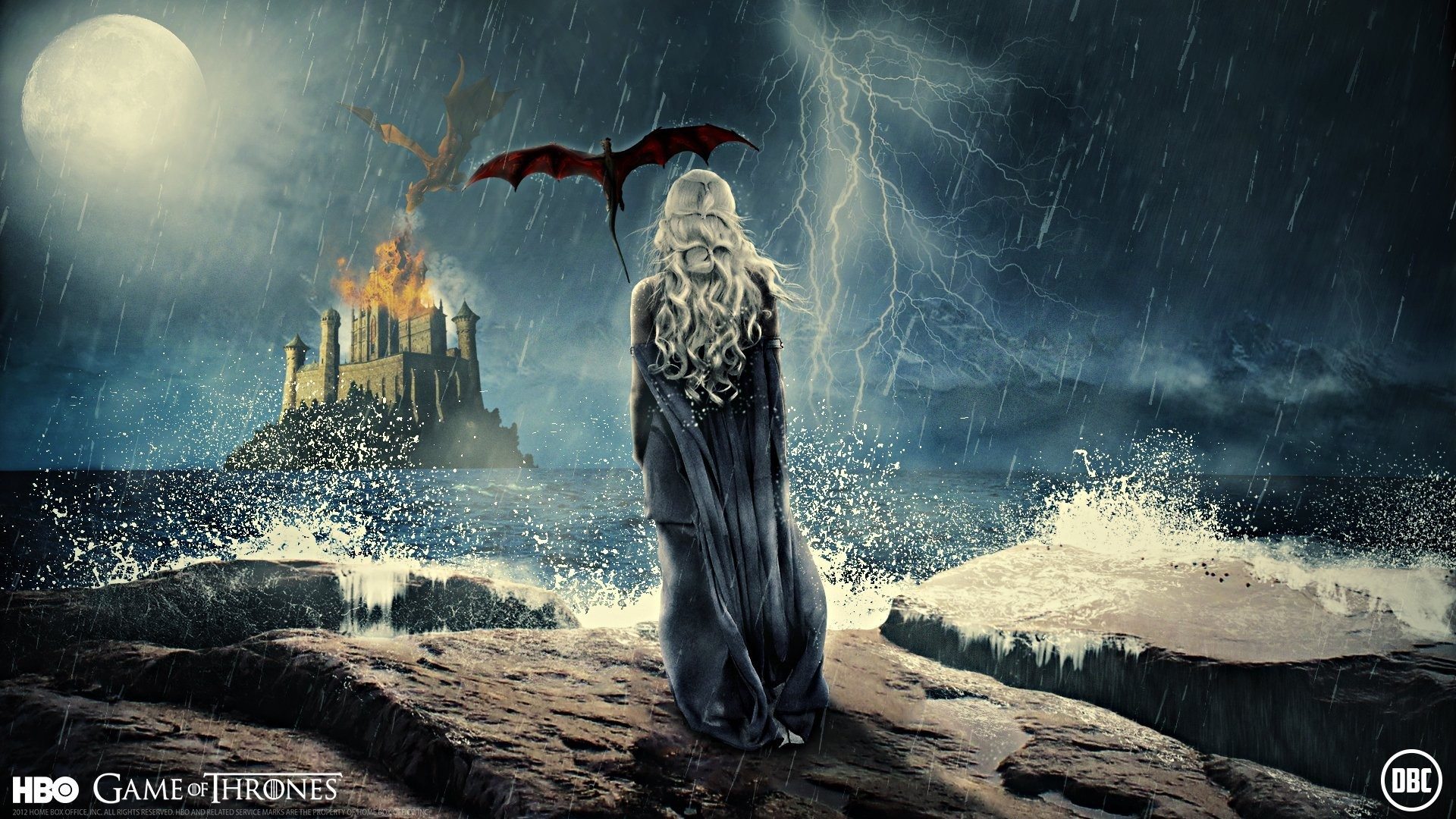 1920x1080 tv series daenerys targaryen games thrones spin girl dragon wings flight  castle fortress fire the storm
