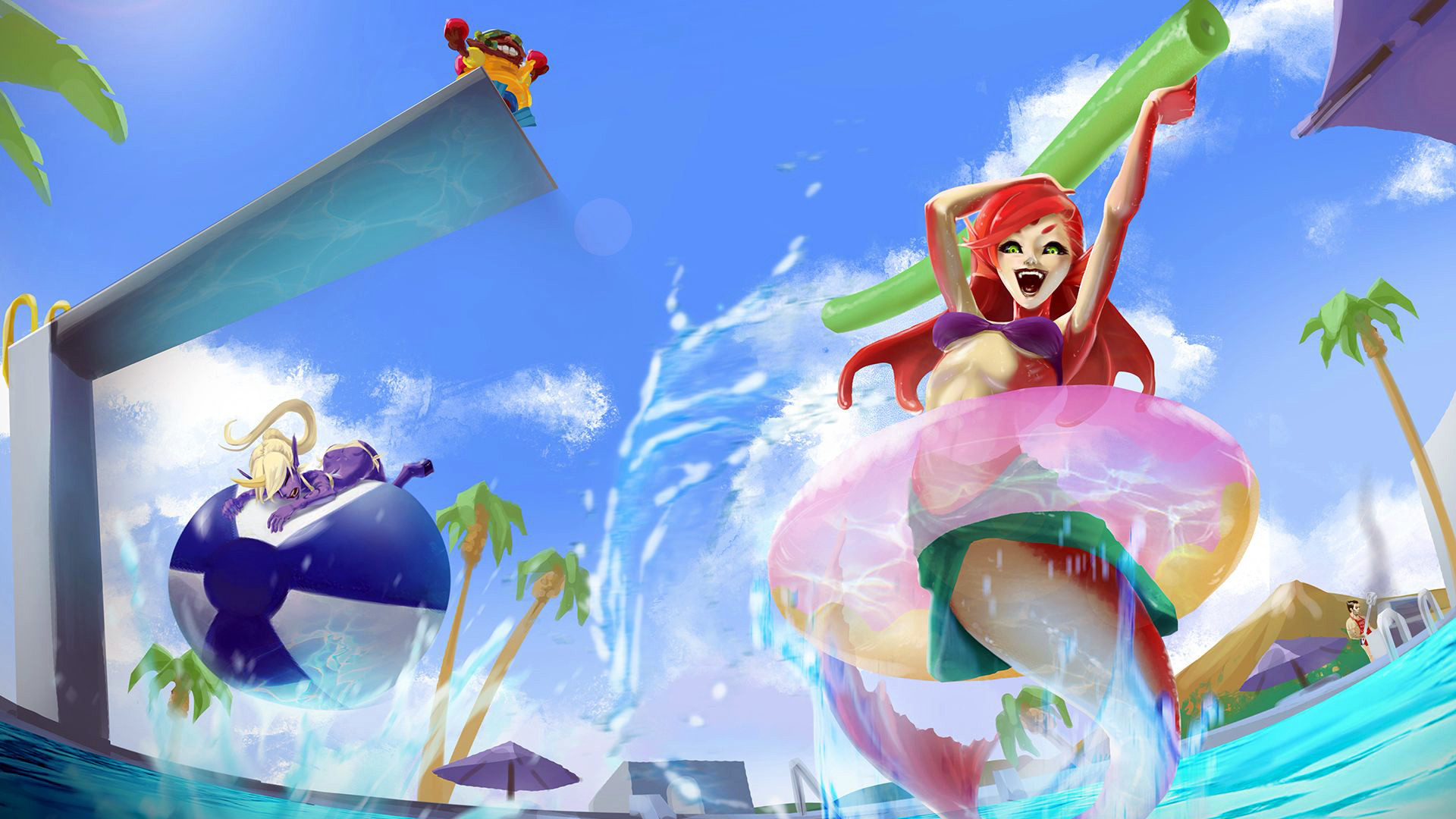 1920x1080 nami pool party skin art league of legends game girl champion