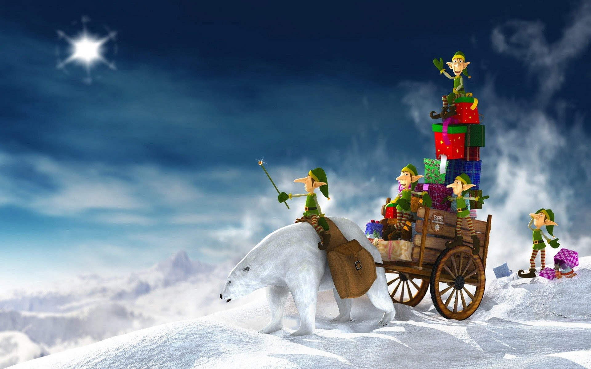 1920x1200 Christmas Wallpaper Elf : Wallpaper christmas elves and presents