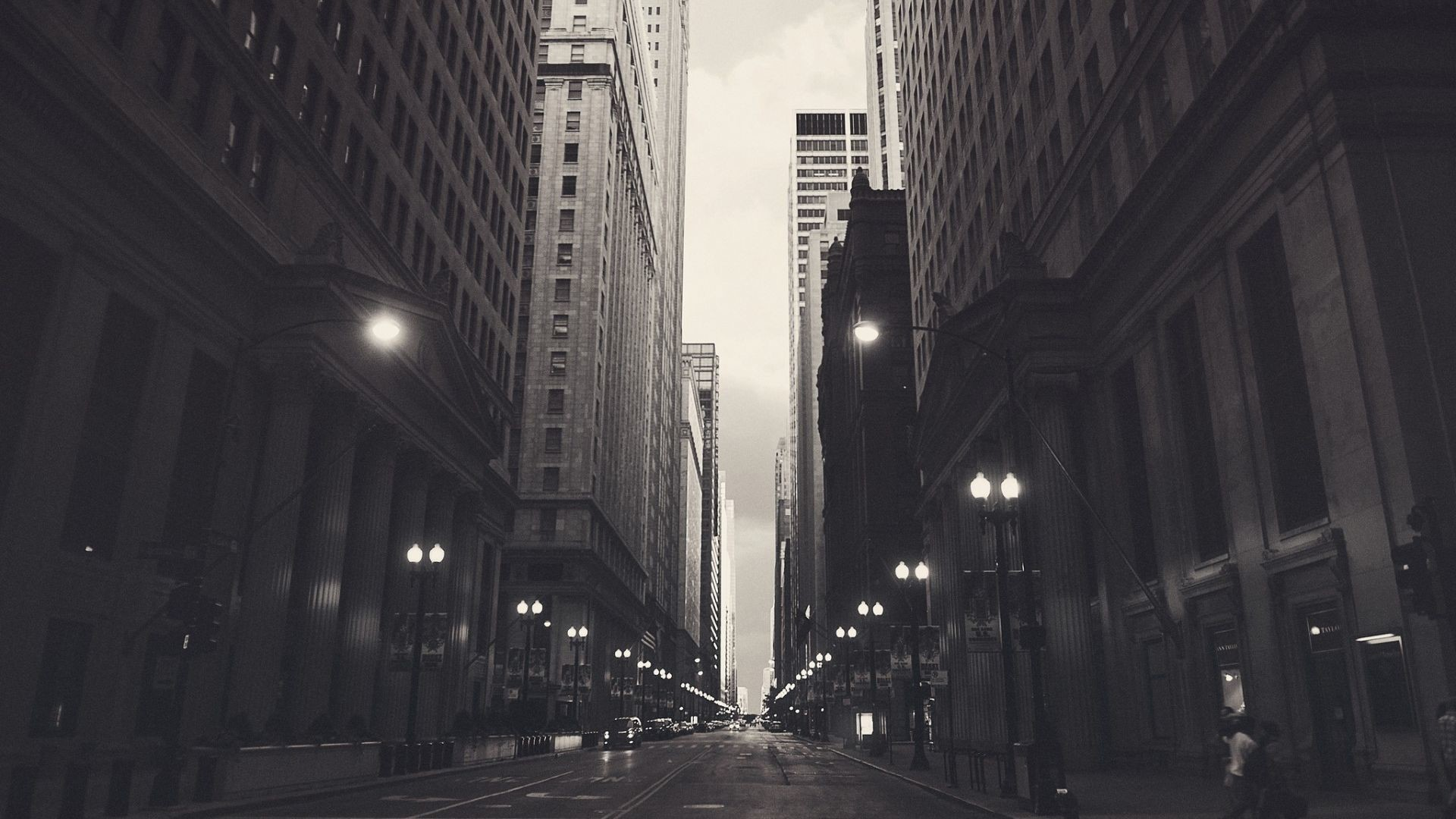 1920x1080 Chicago City Monochrome HD Wallpaper. « »