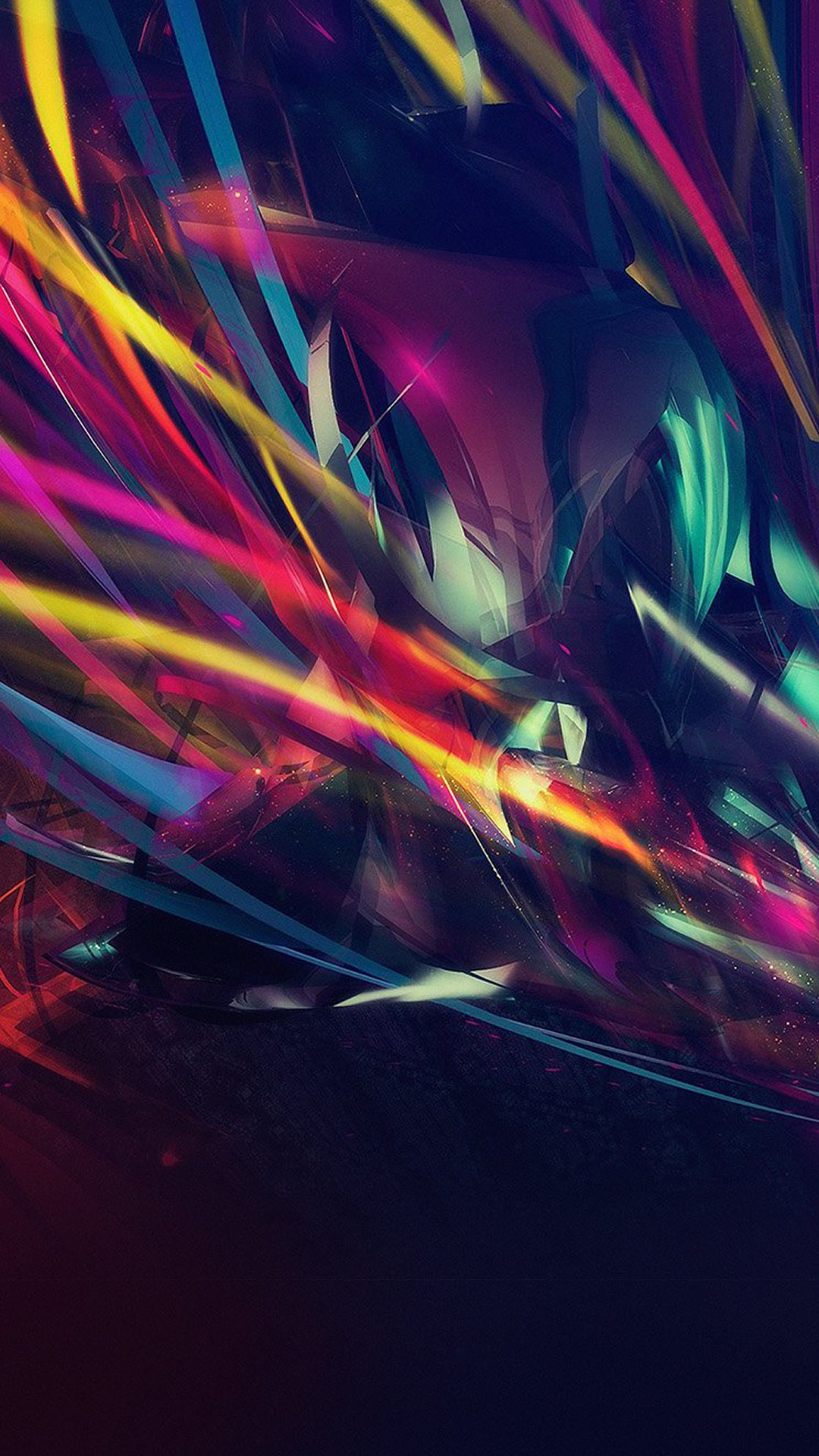 1080x1920 Colorful Line Abstract Art Dark Pattern #iPhone #7 #wallpaper