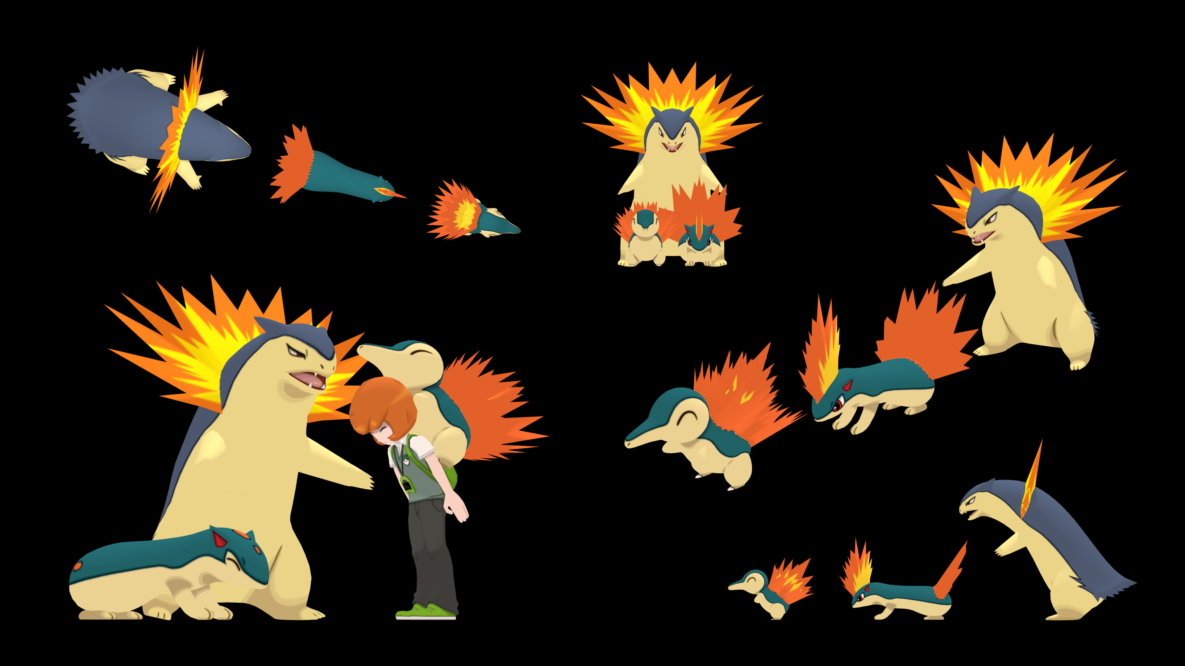 3840x2160 Size comparison through evolutions #21: Cyndaquil